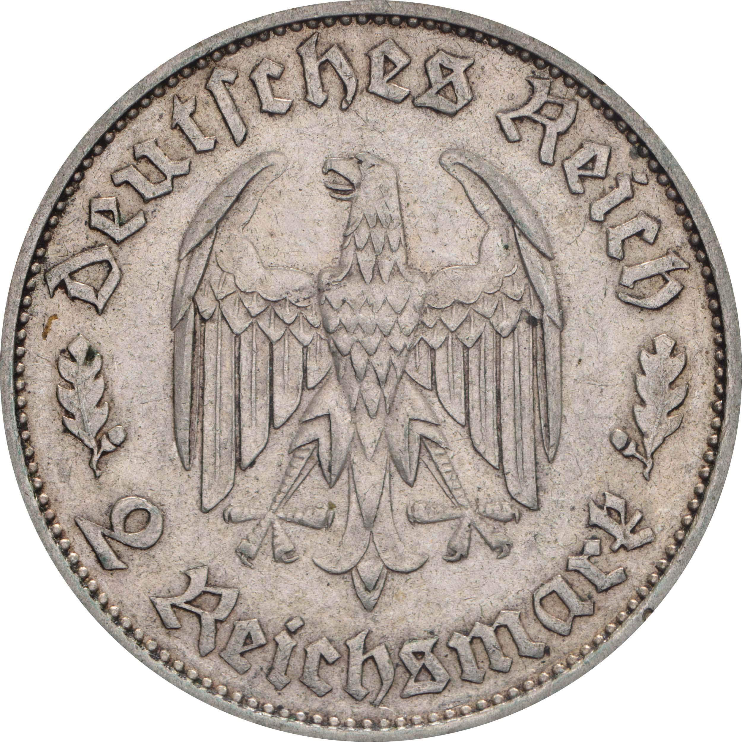 Rückseite :Deutschland : 2 Reichsmark Schiller  1934 ss.