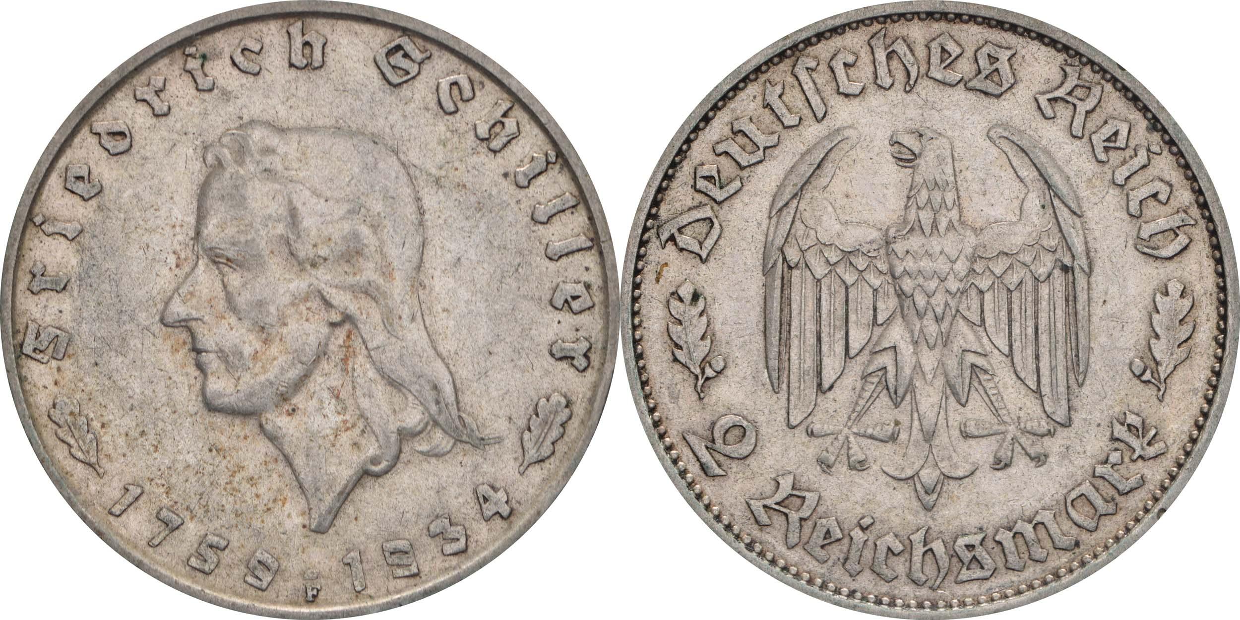Deutschland : 2 Reichsmark Schiller  1934 ss.