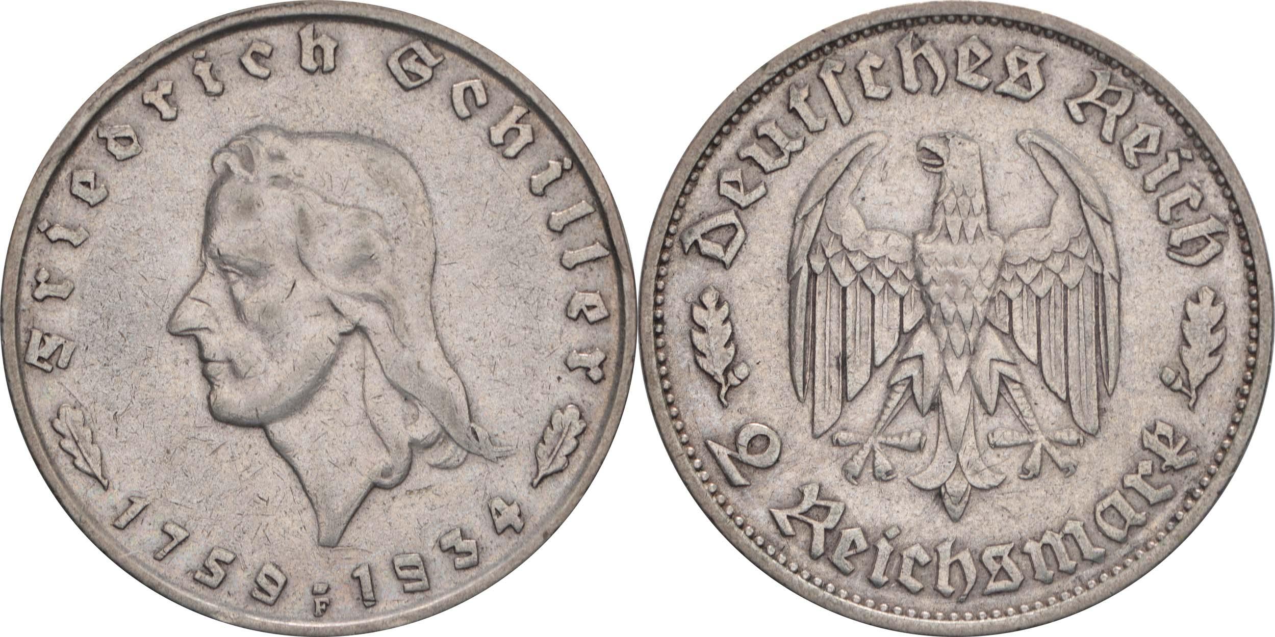 Übersicht:Deutschland : 2 Reichsmark Schiller  1934 ss.