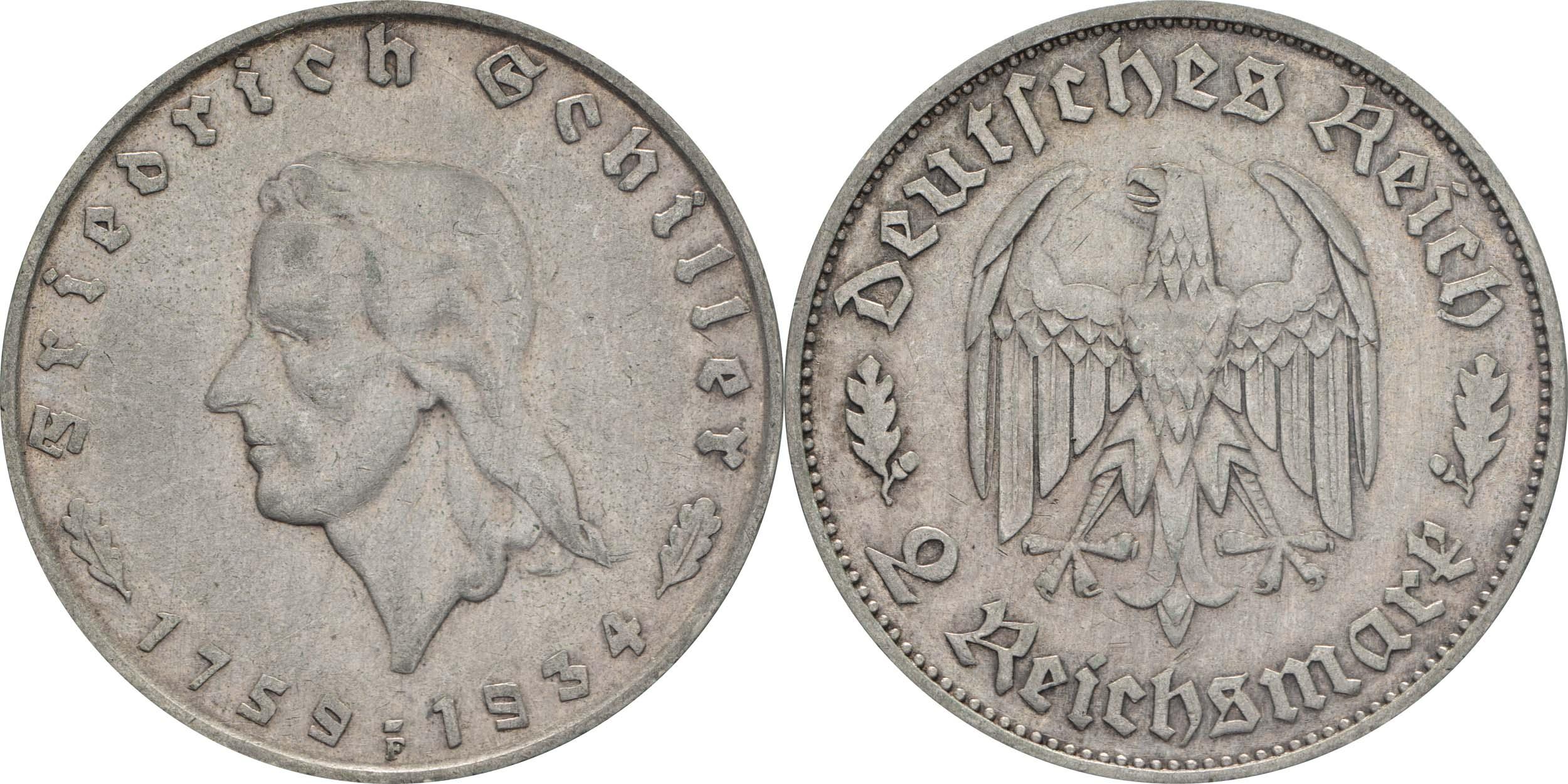 Lieferumfang:Deutschland : 2 Reichsmark Schiller   ss/vz.