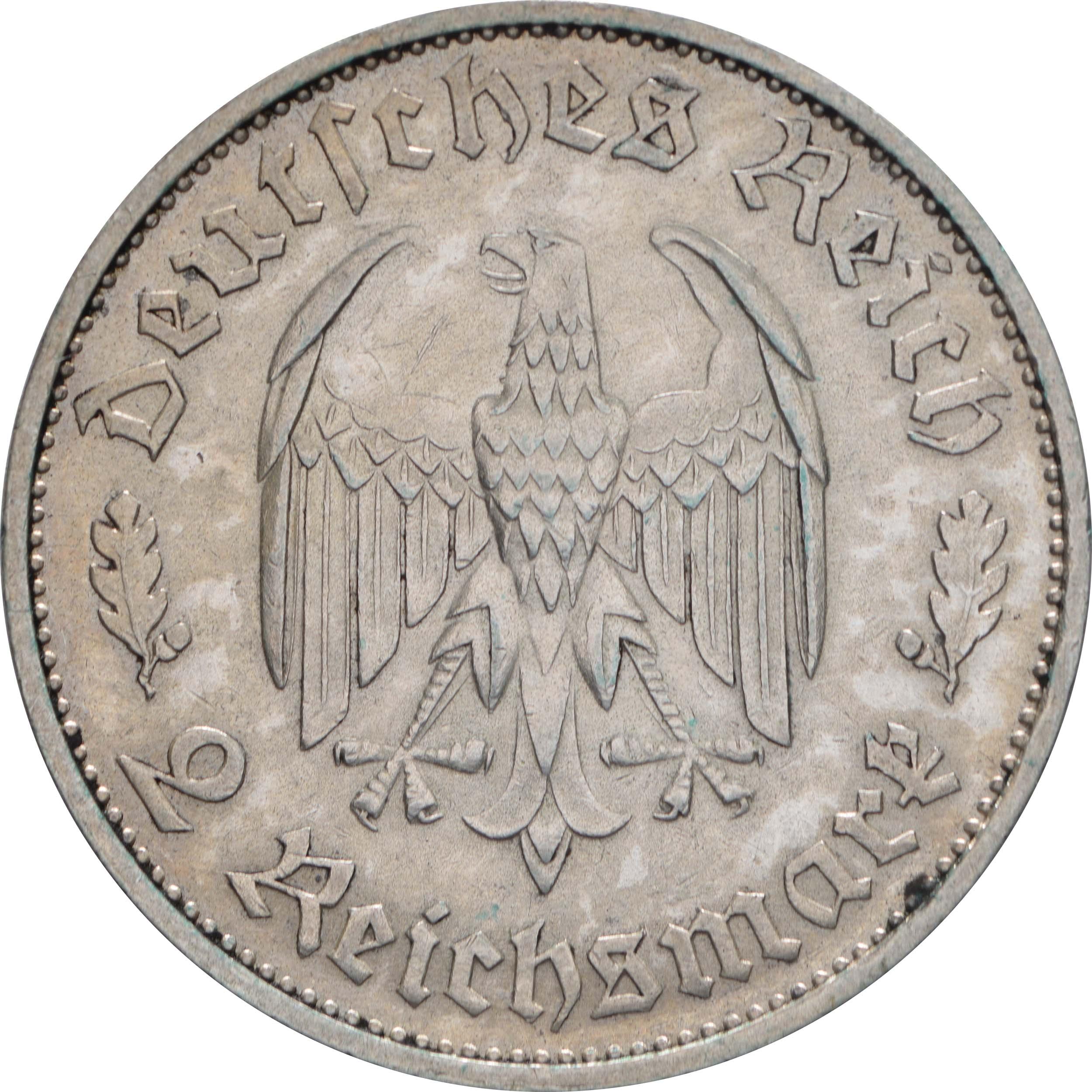 Rückseite:Deutschland : 2 Reichsmark Schiller  1934 ss/vz.