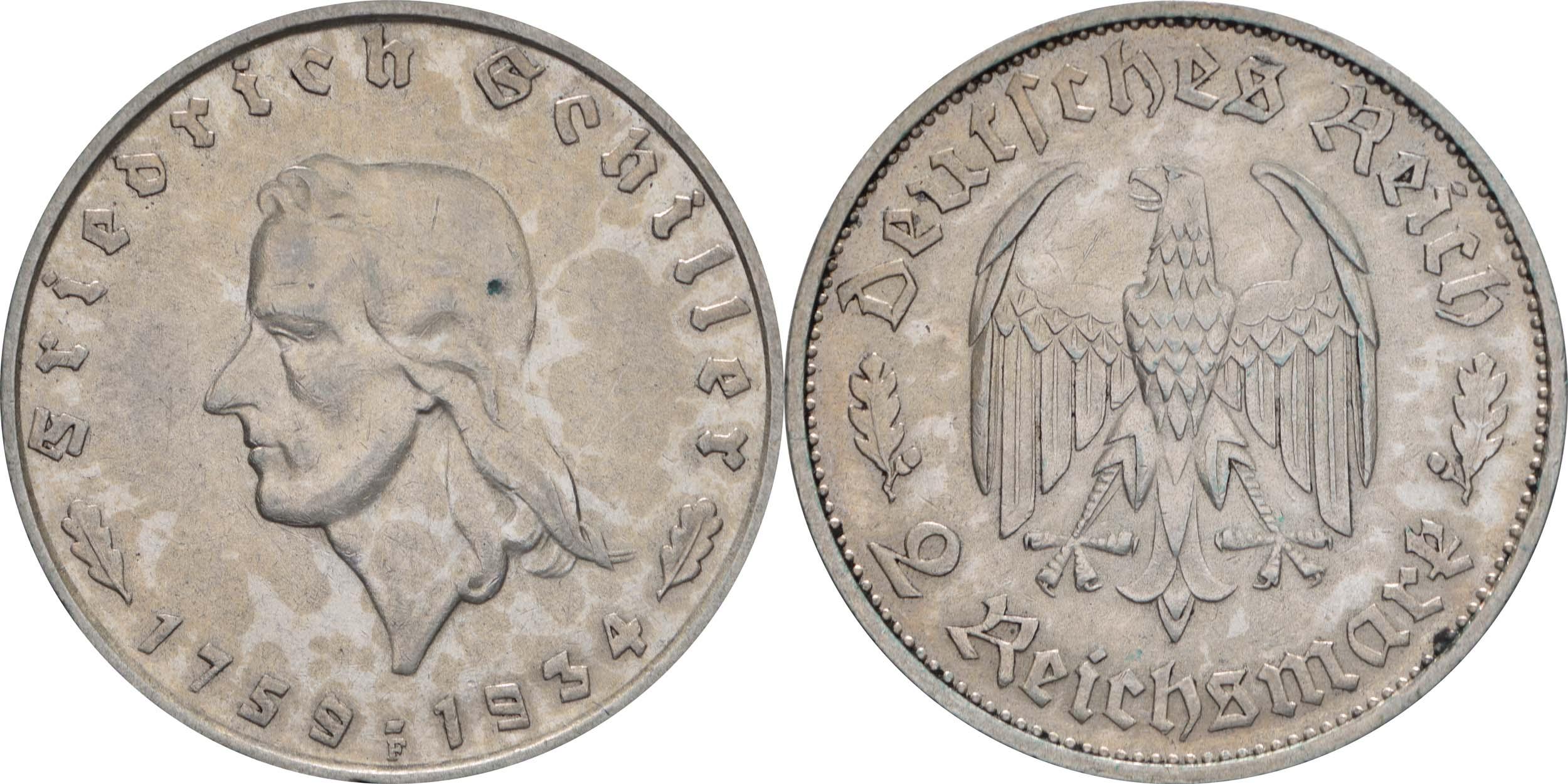 Übersicht:Deutschland : 2 Reichsmark Schiller  1934 ss/vz.