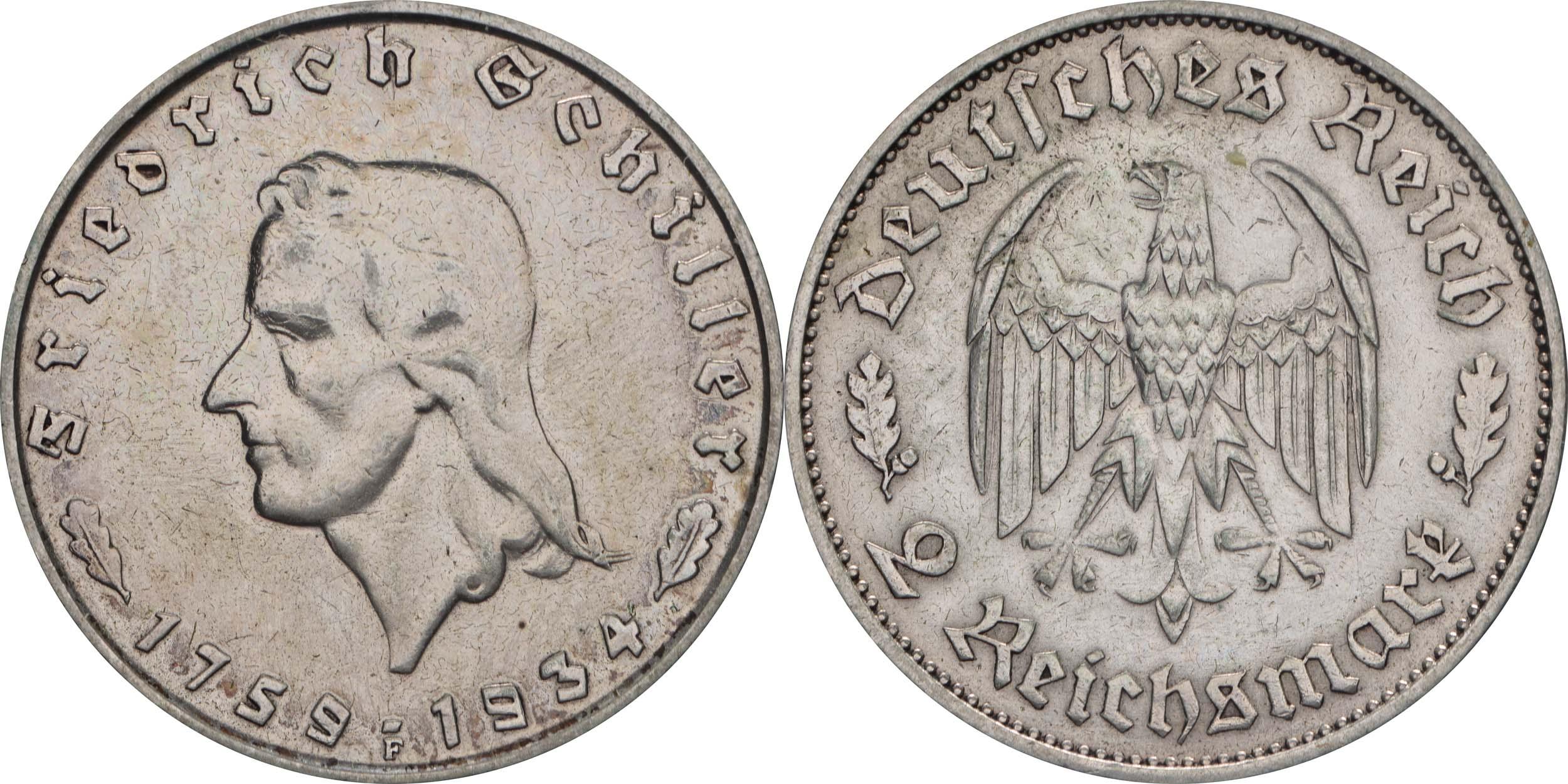 Deutschland : 2 Reichsmark Schiller  1934 ss/vz.