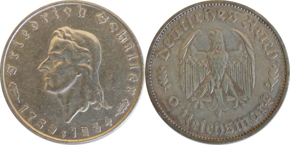 Deutschland : 2 Reichsmark Schiller patina 1934 ss/vz.