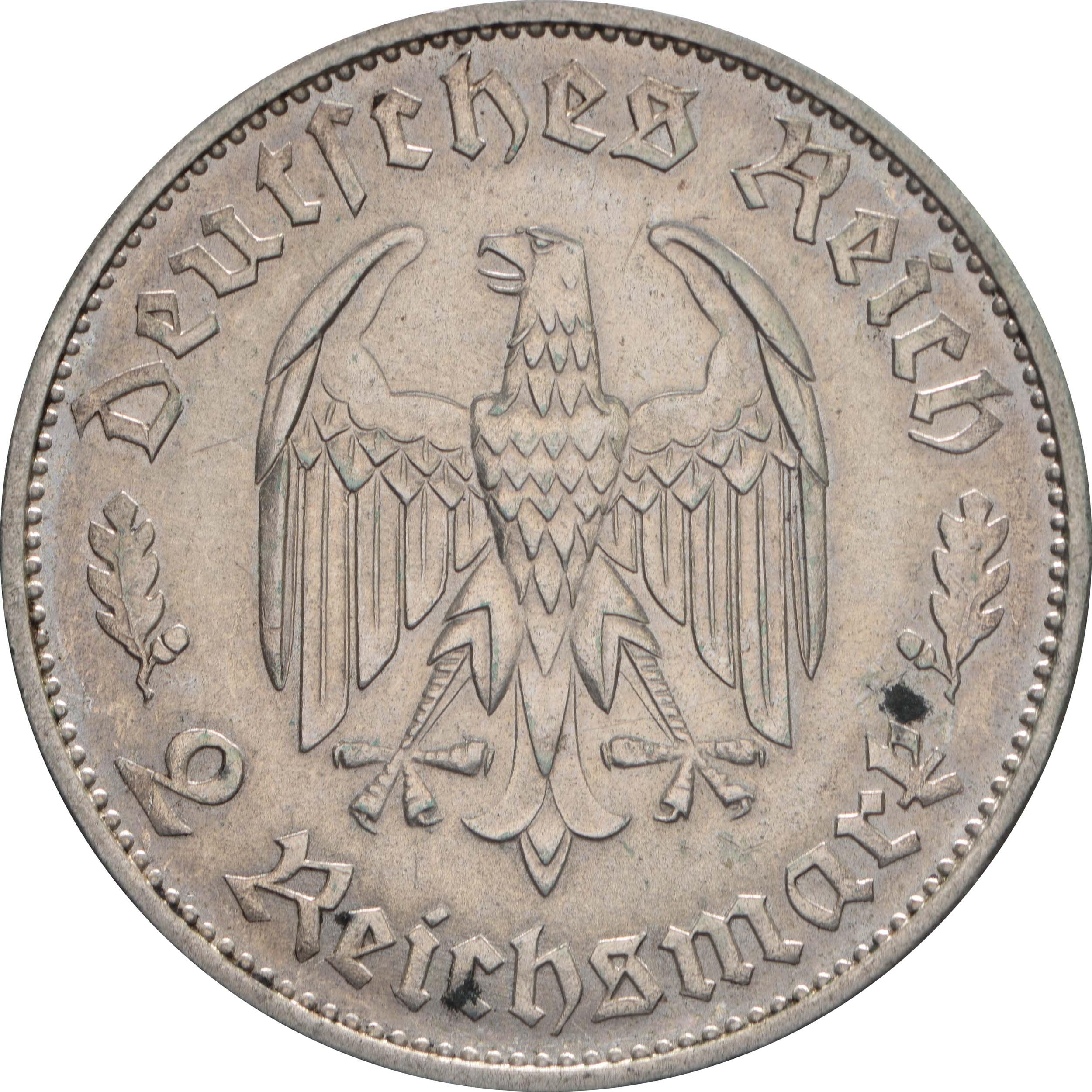 Rückseite:Deutschland : 2 Reichsmark Schiller  1934 f.vz.