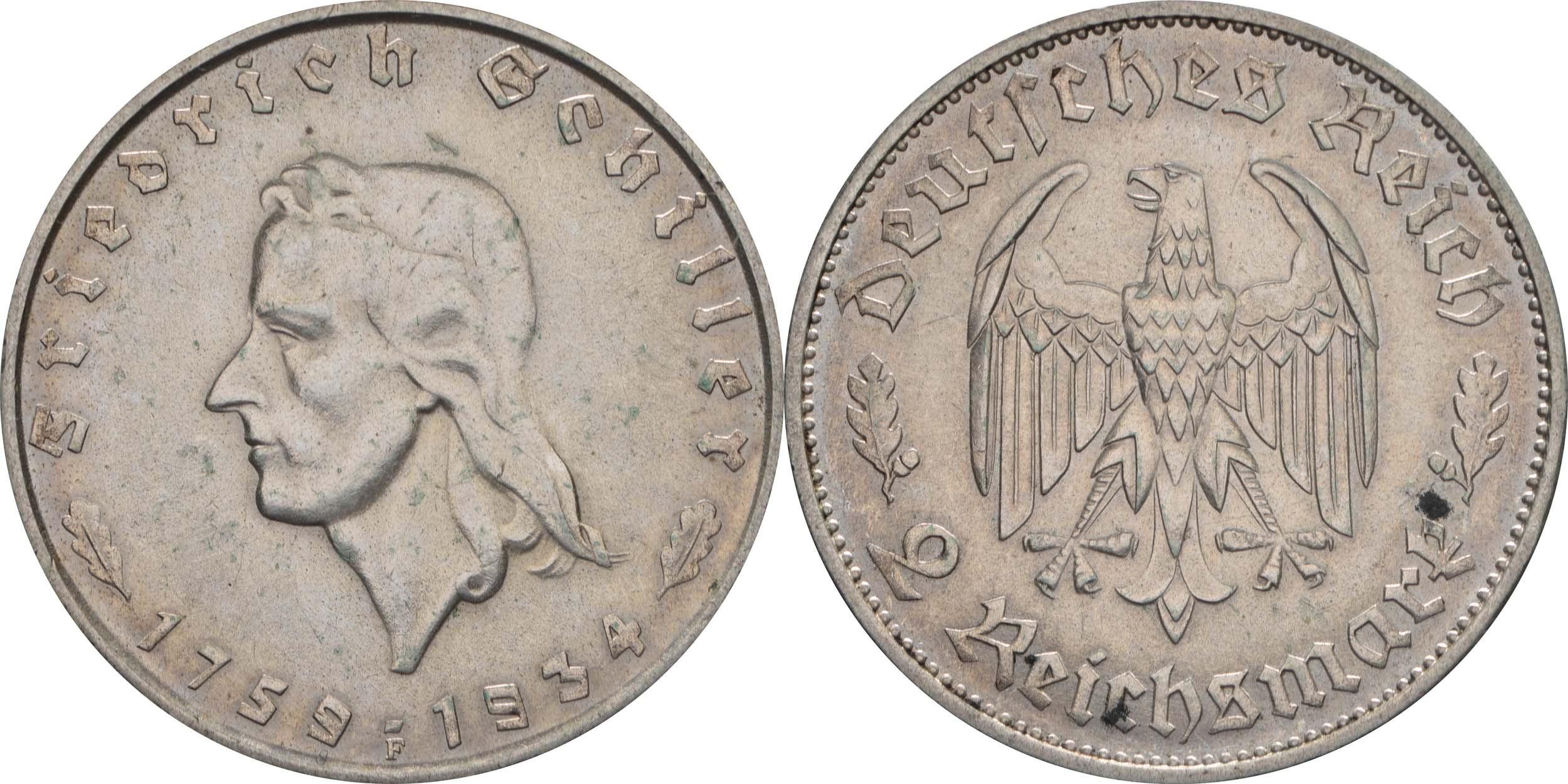 Deutschland : 2 Reichsmark Schiller  1934 f.vz.