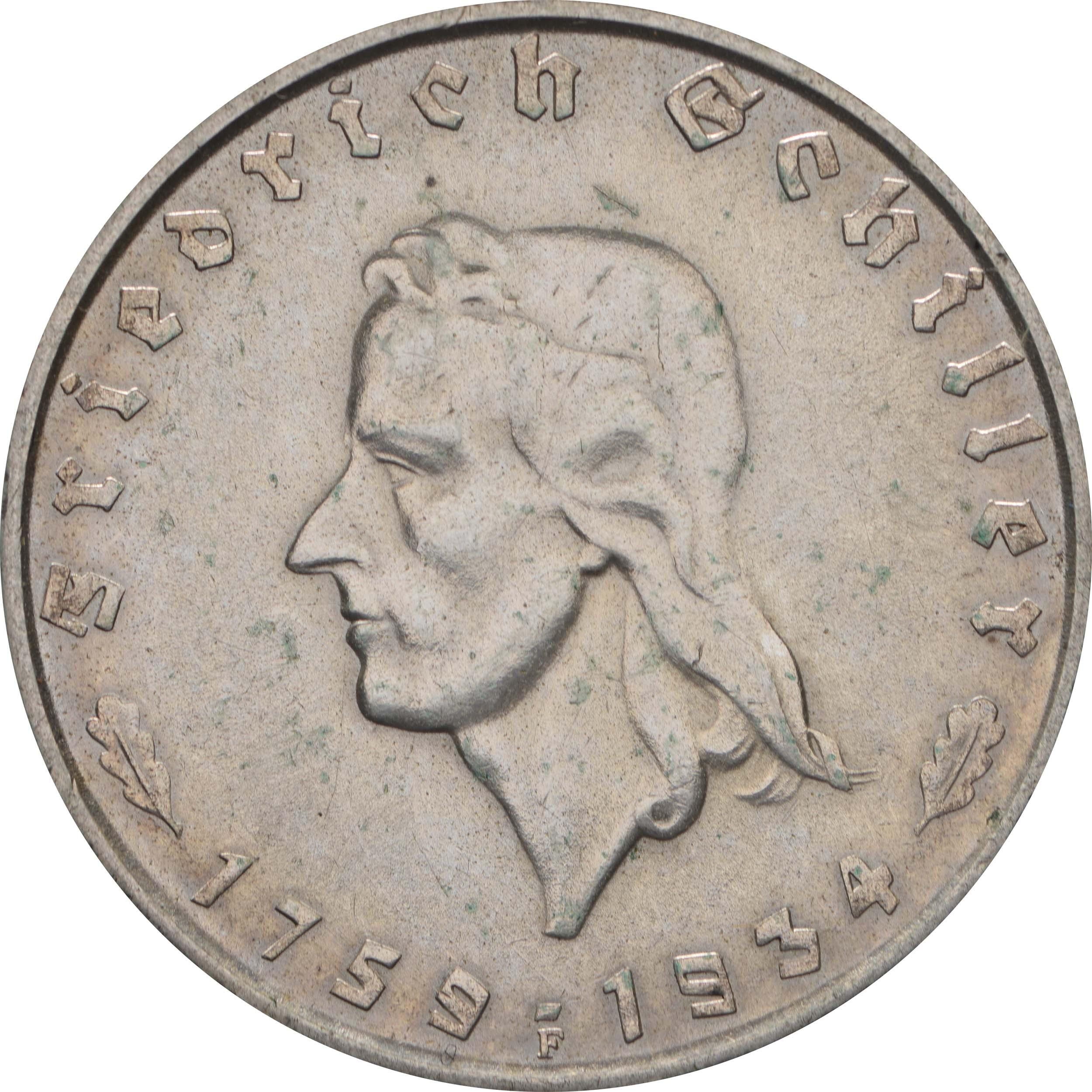 Vorderseite:Deutschland : 2 Reichsmark Schiller  1934 f.vz.