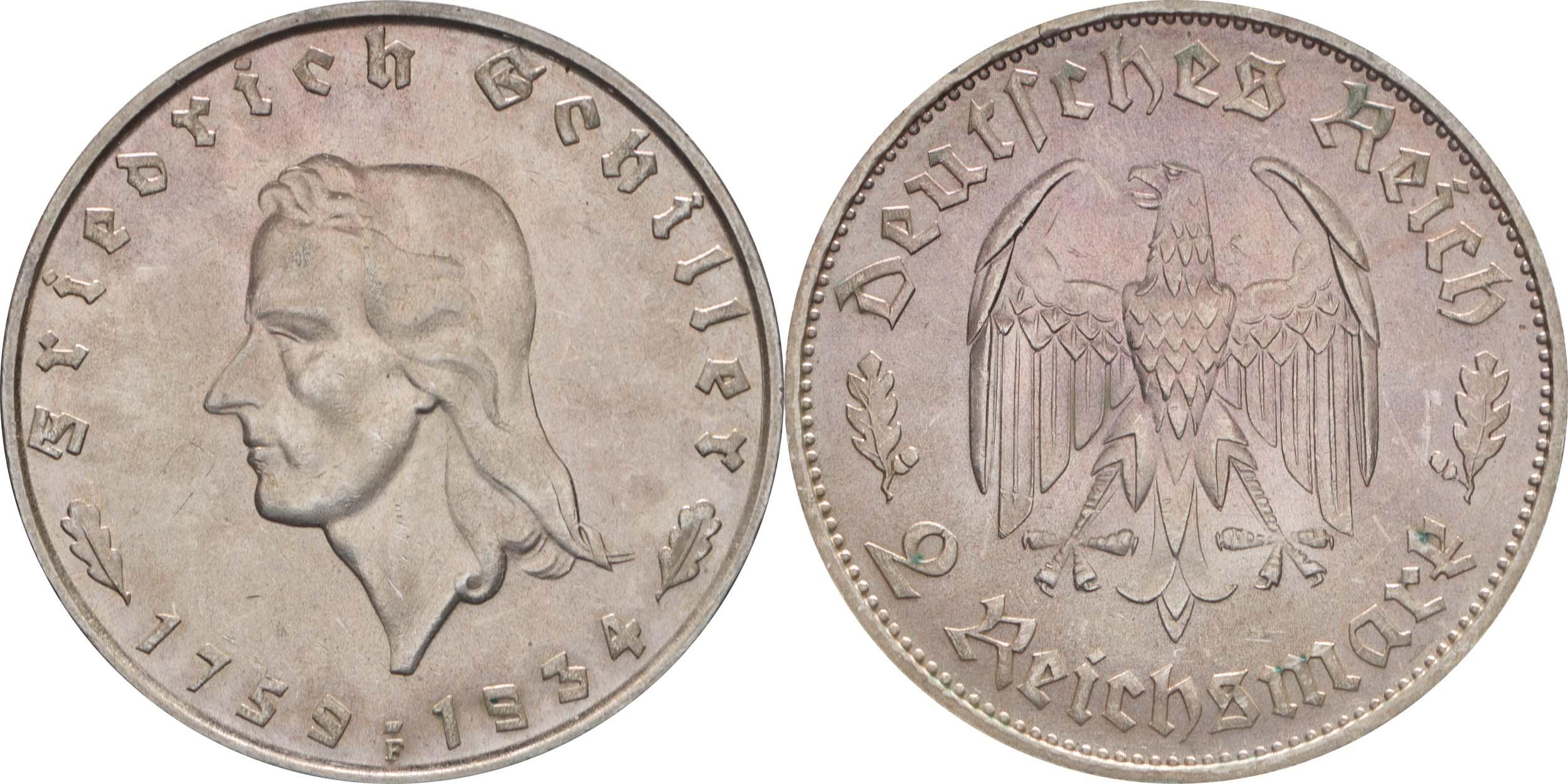 Deutschland : 2 Reichsmark Schiller winz. Kratzer 1934 Stgl.