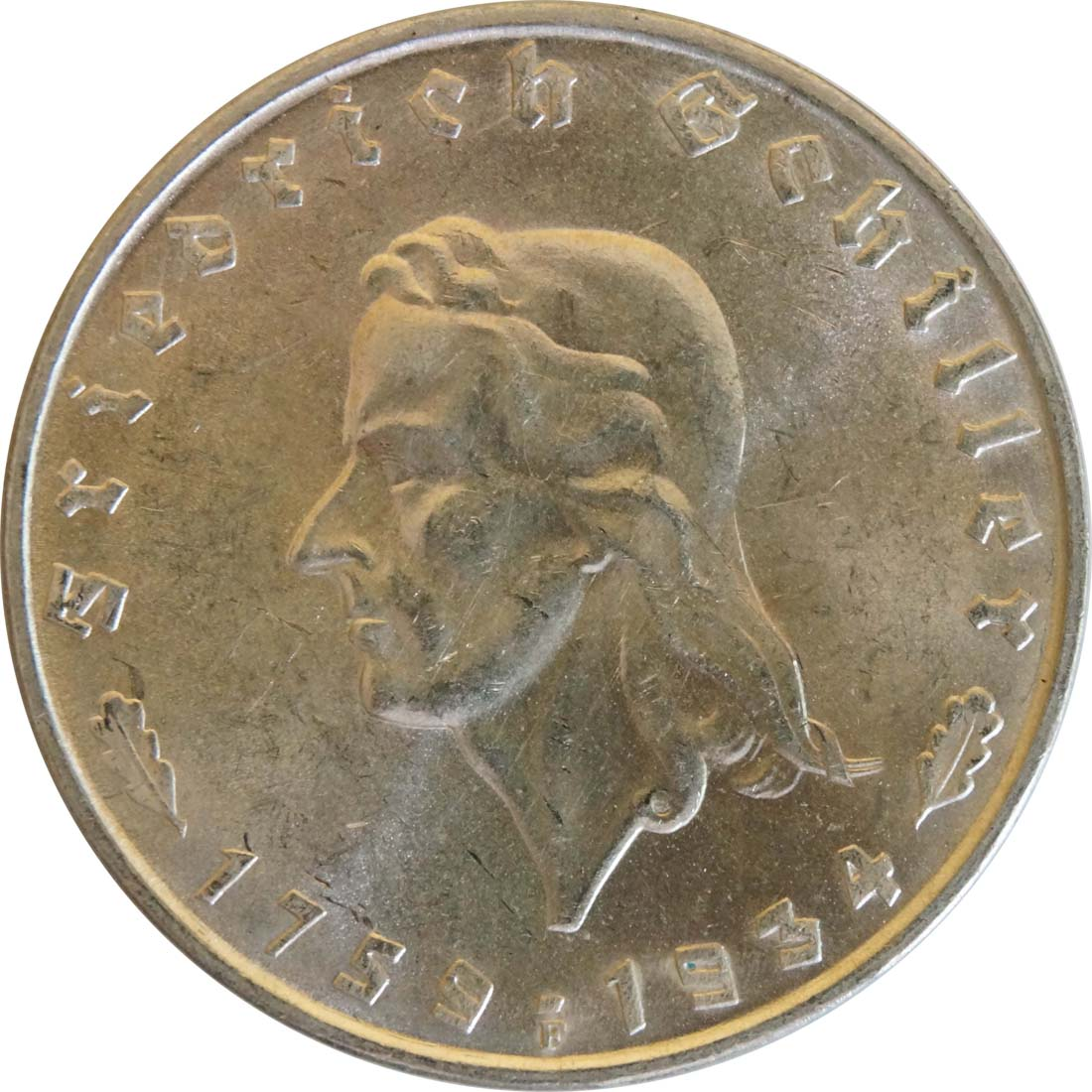 Vorderseite :Deutschland : 2 Reichsmark Schiller winz. Kratzer 1934 Stgl.