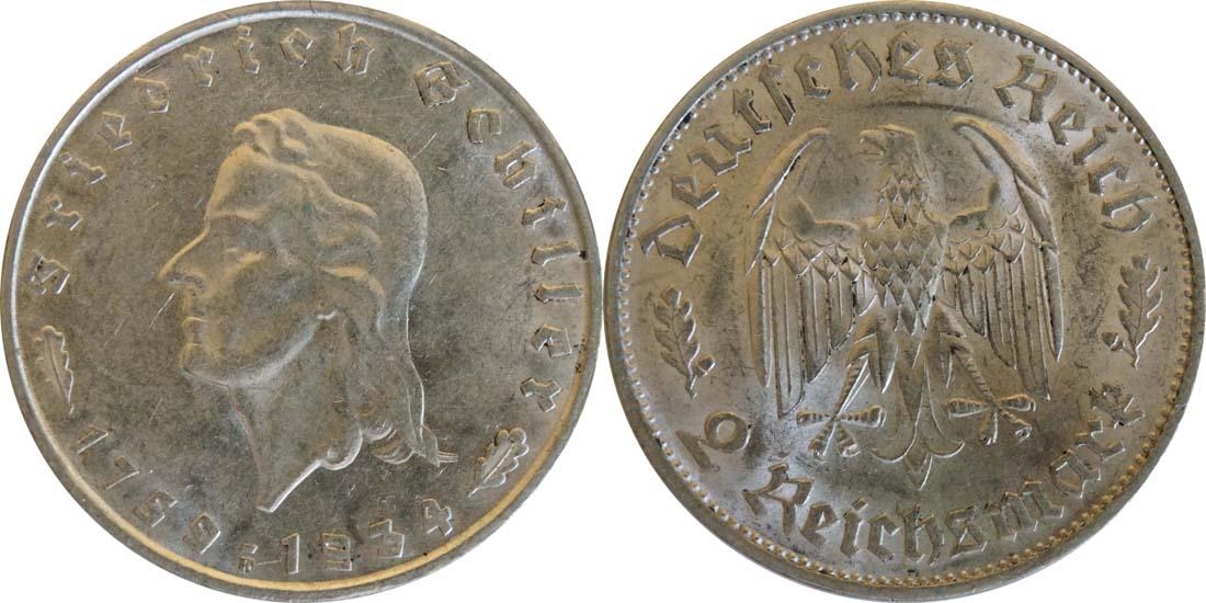 Übersicht:Deutschland : 2 Reichsmark Schiller  1934 vz/Stgl.