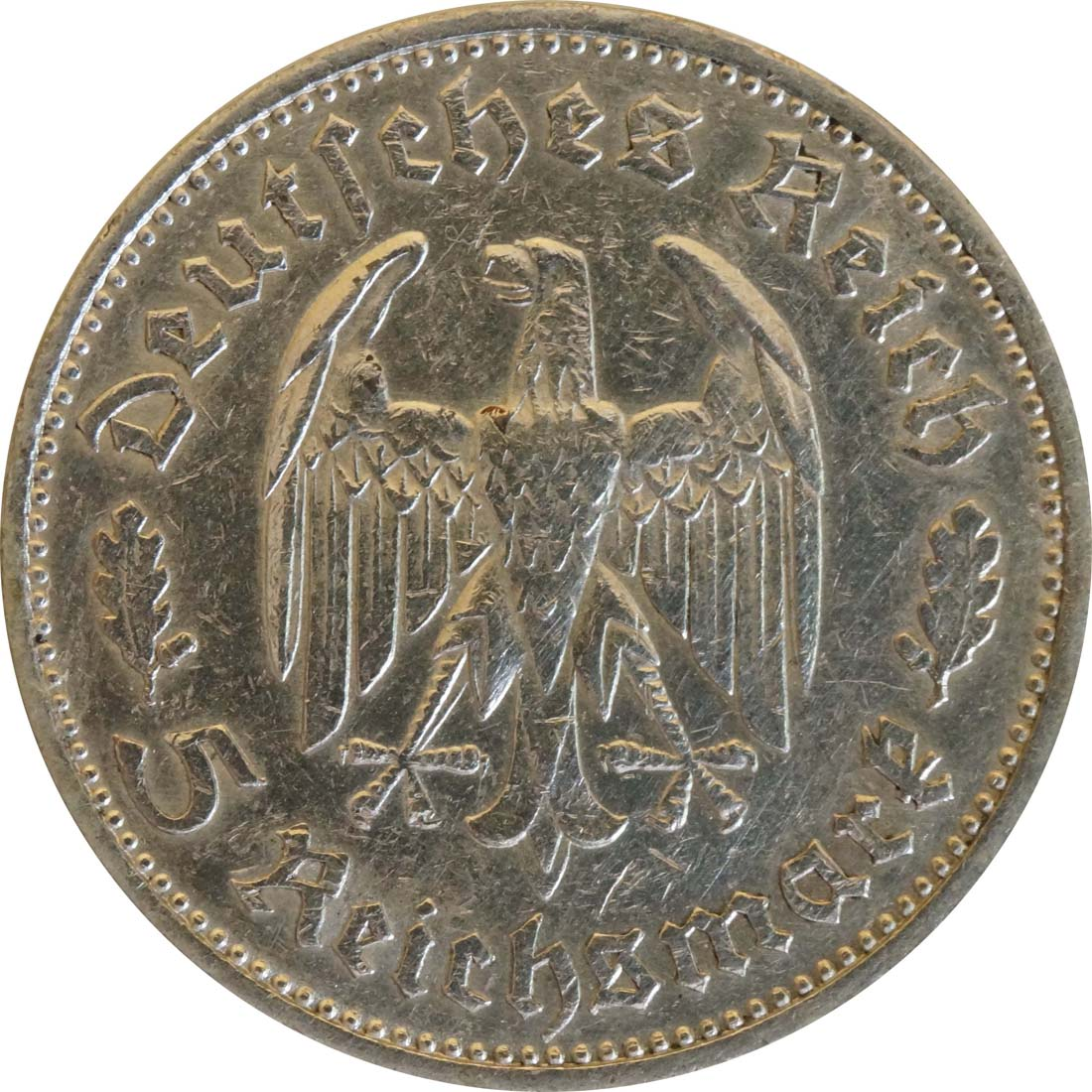 Rückseite :Deutschland : 5 Reichsmark Schiller Kratzer 1934 ss.