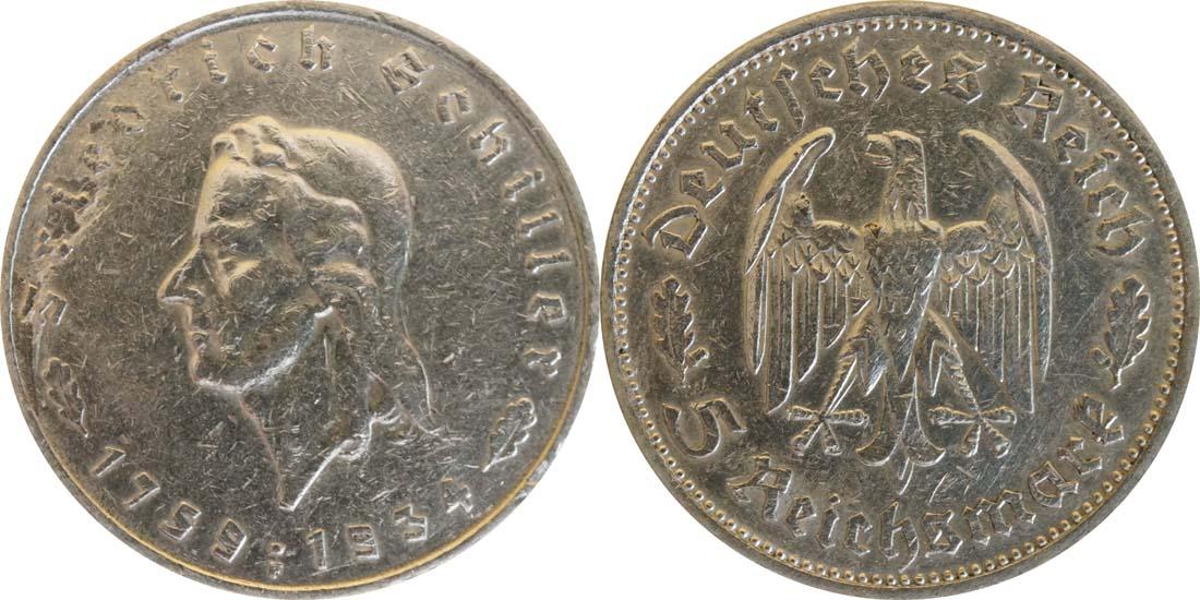 Deutschland : 5 Reichsmark Schiller Kratzer 1934 ss.