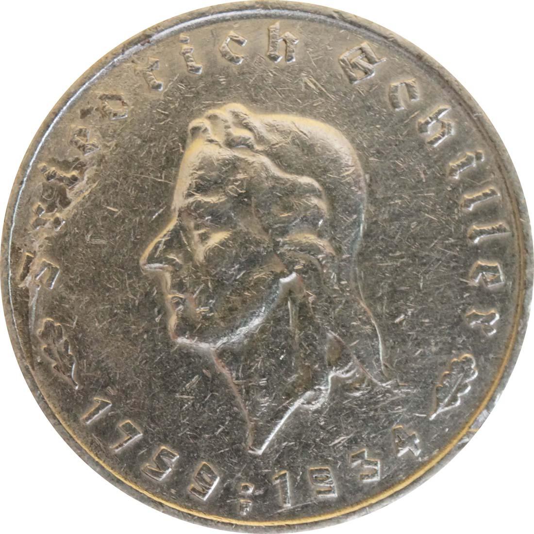 Vorderseite:Deutschland : 5 Reichsmark Schiller Kratzer 1934 ss.