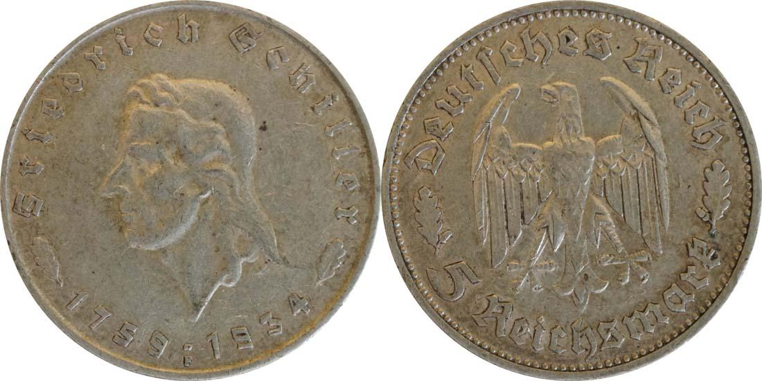 Deutschland : 5 Reichsmark Schiller  1934 ss.