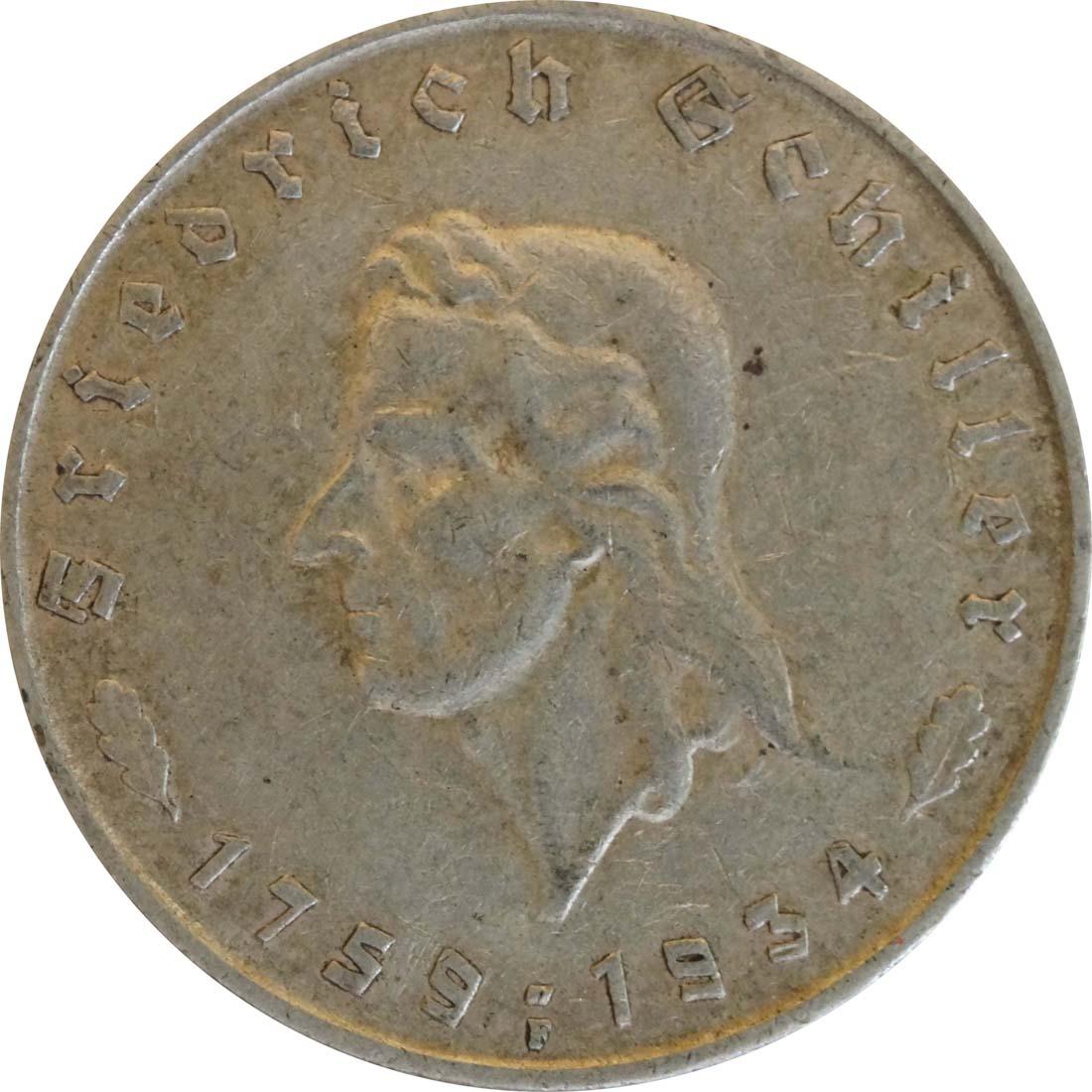 Vorderseite :Deutschland : 5 Reichsmark Schiller  1934 ss.