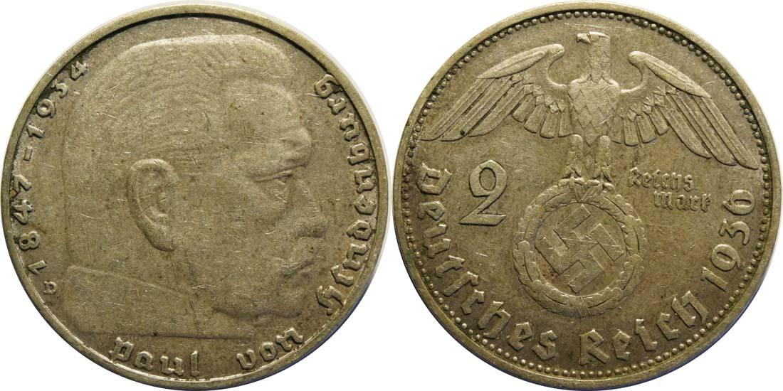 Deutschland : 2 Reichsmark Hindenburg  1936 ss/vz.