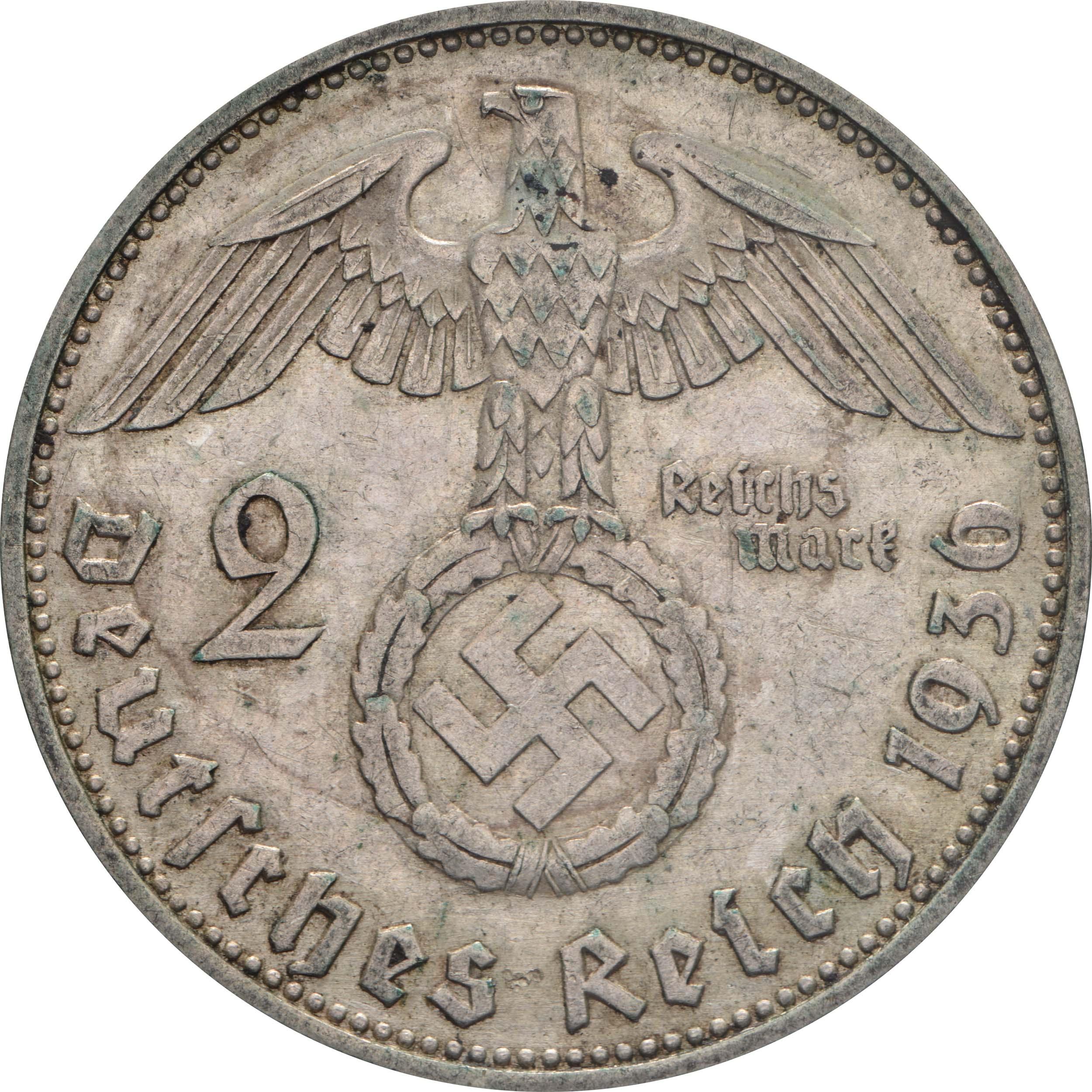 Rückseite:Deutschland : 2 Reichsmark Hindenburg  1936 ss.