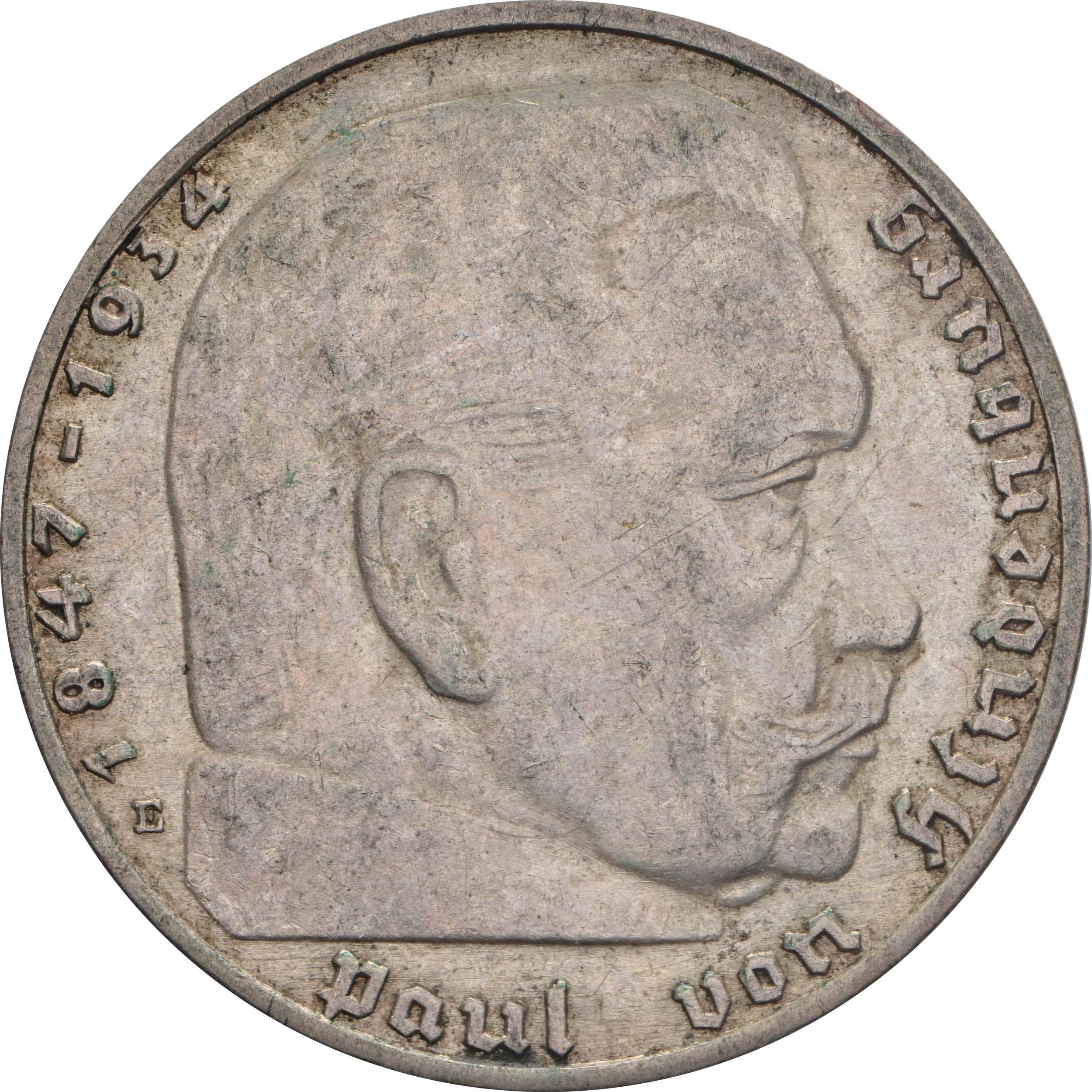 Vorderseite:Deutschland : 2 Reichsmark Hindenburg  1936 ss.