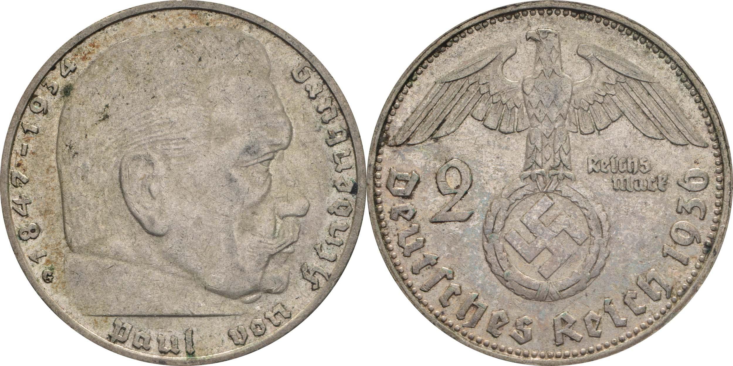 deutschland 2 reichsmark hindenburg 1936 g silber ss vz euro. Black Bedroom Furniture Sets. Home Design Ideas
