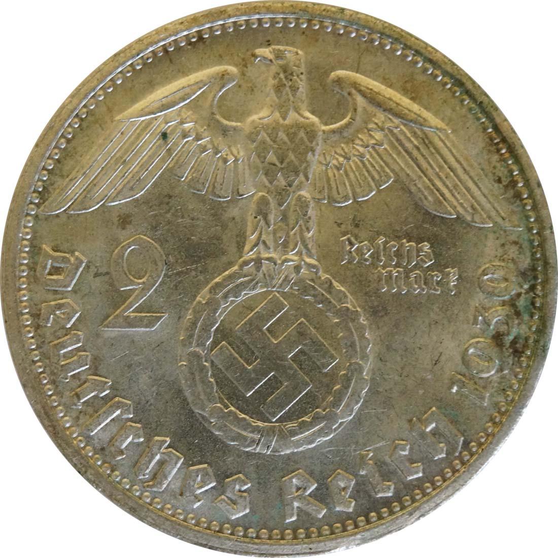 Rückseite:Deutschland : 2 Reichsmark Hindenburg  1939 vz.