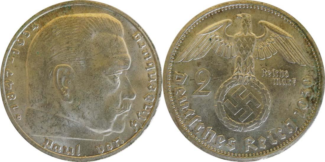 Deutschland : 2 Reichsmark Hindenburg  1939 vz.