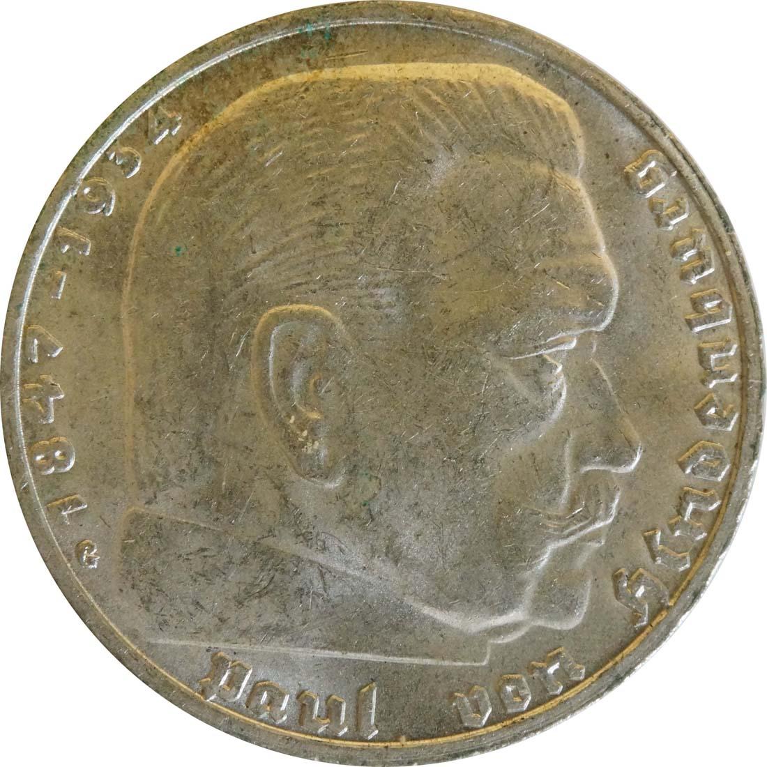 Vorderseite:Deutschland : 2 Reichsmark Hindenburg  1939 vz.