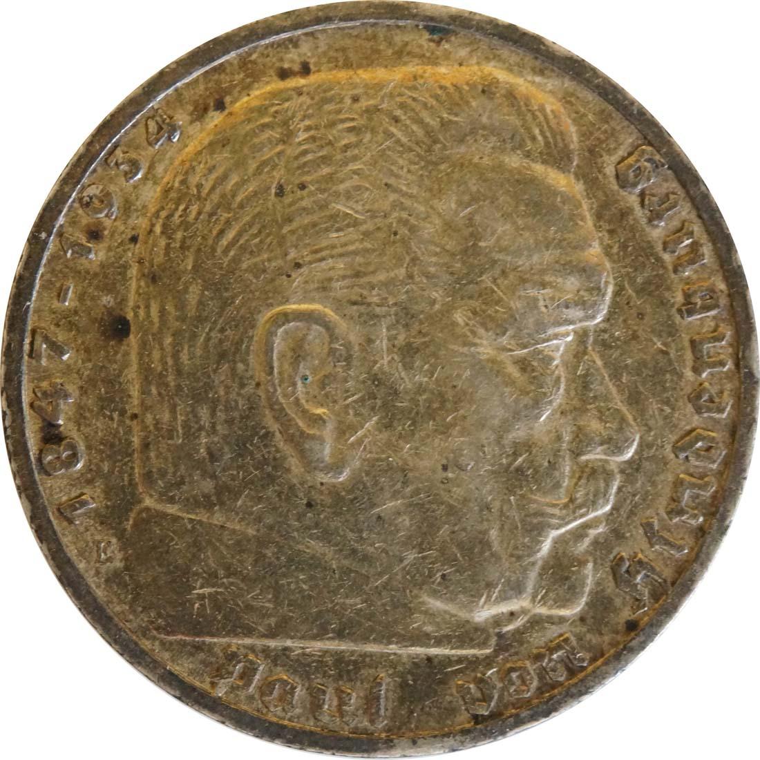 deutschland 5 reichsmark hindenburg 1936 e silber ss euro. Black Bedroom Furniture Sets. Home Design Ideas