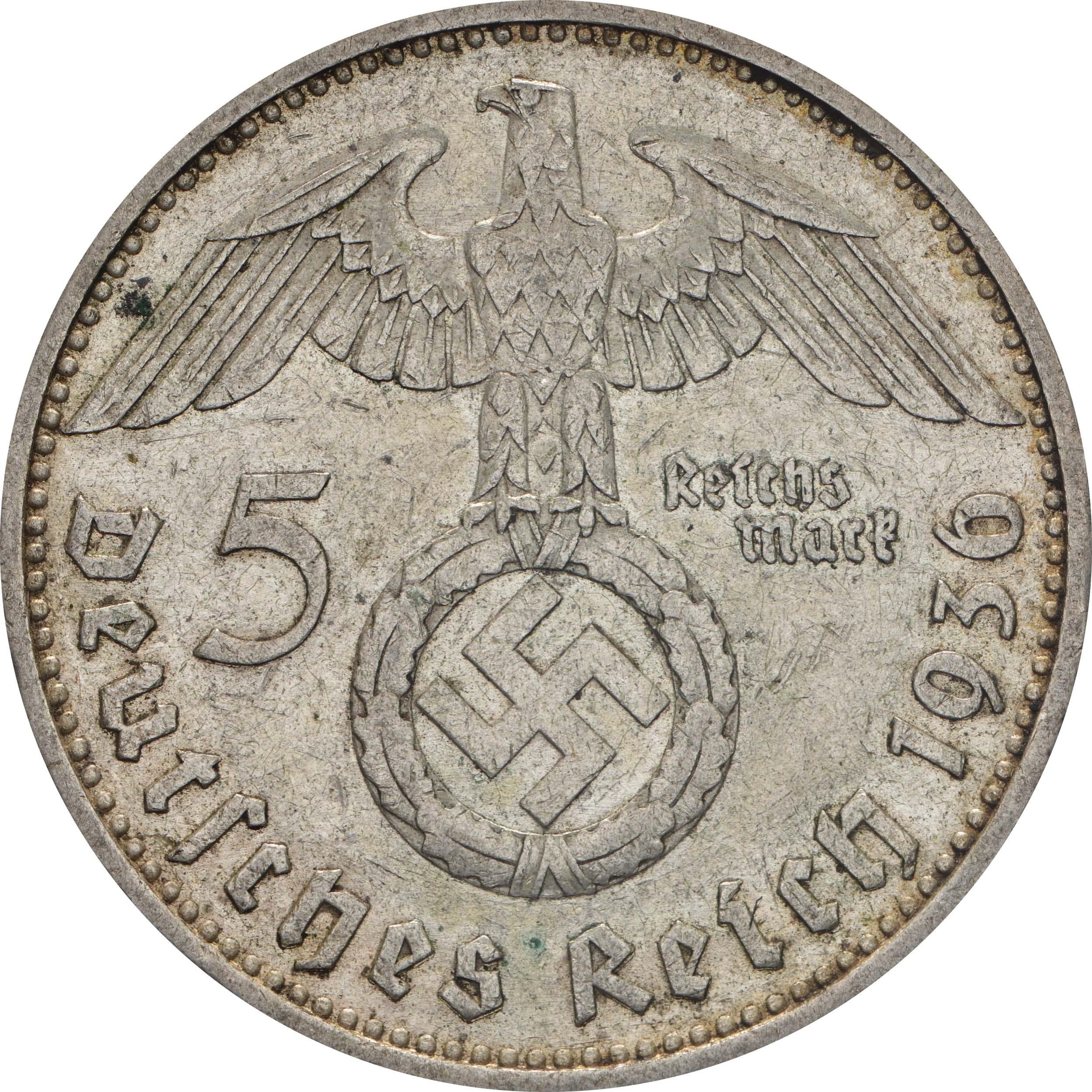 deutschland 5 reichsmark hindenburg 1936 g silber ss euro. Black Bedroom Furniture Sets. Home Design Ideas