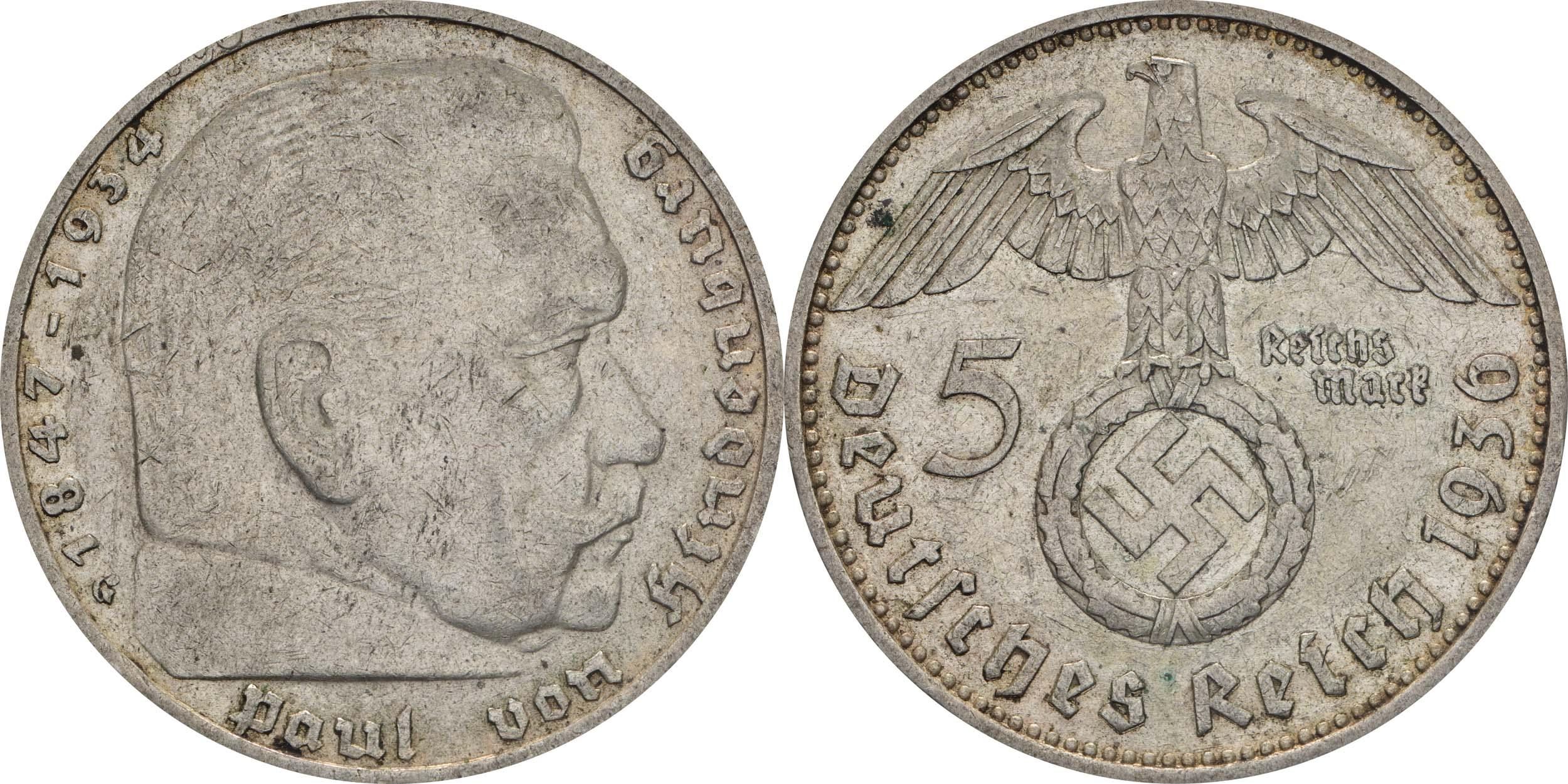 Deutschland : 5 Reichsmark Hindenburg  1936 ss.