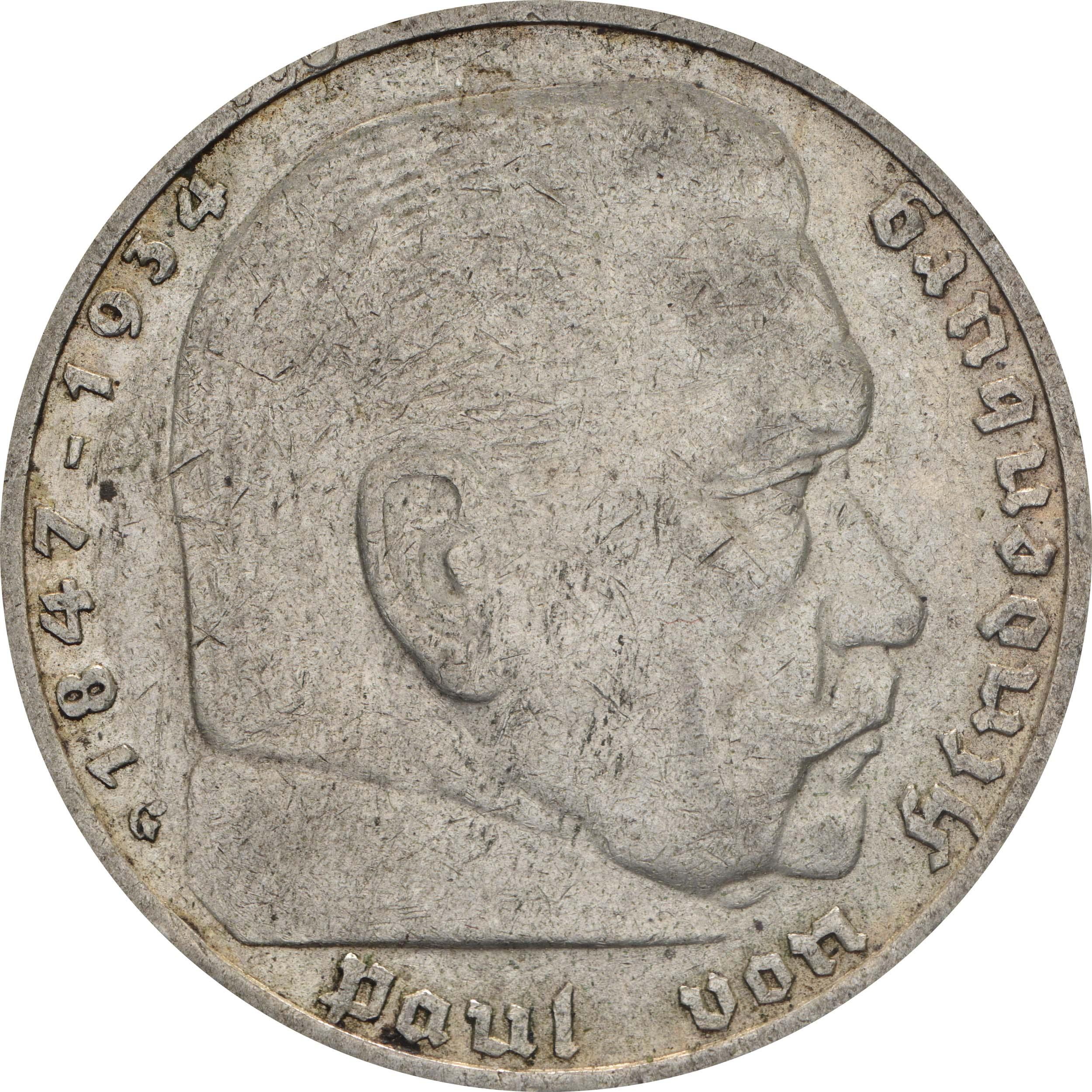 Vorderseite:Deutschland : 5 Reichsmark Hindenburg  1936 ss.