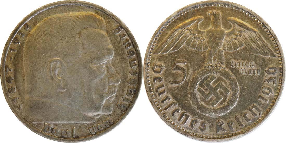Übersicht:Deutschland : 5 Reichsmark Hindenburg  1936 ss.