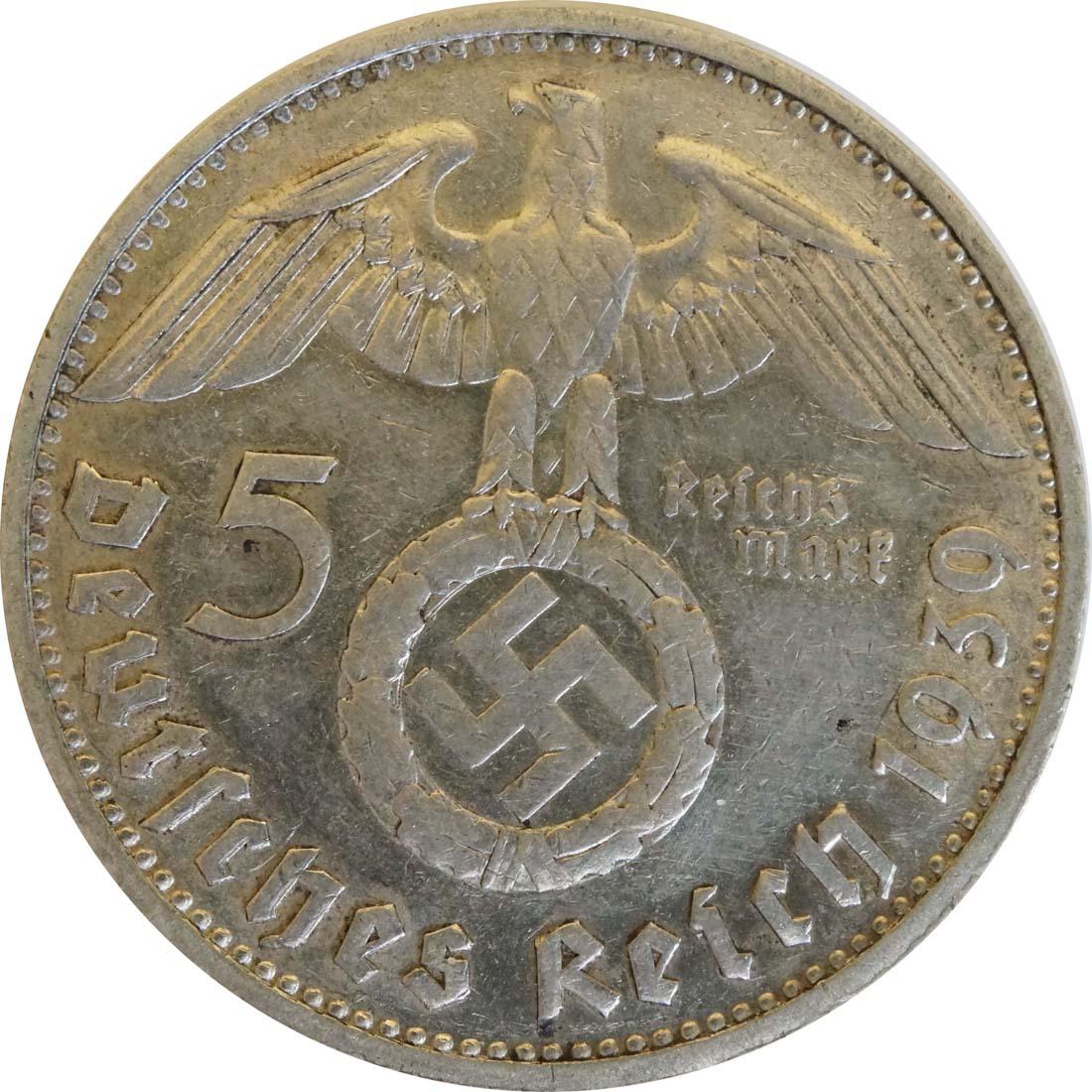 Rückseite:Deutschland : 5 Reichsmark Hindenburg  1939 ss/vz.