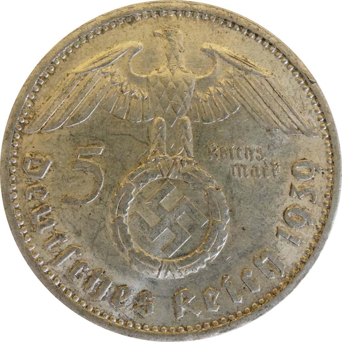 Rückseite :Deutschland : 5 Reichsmark Hindenburg  1939 ss/vz.
