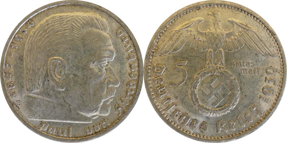 Deutschland : 5 Reichsmark Hindenburg  1939 ss/vz.