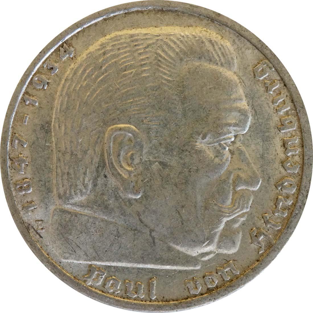 Vorderseite :Deutschland : 5 Reichsmark Hindenburg  1939 ss/vz.