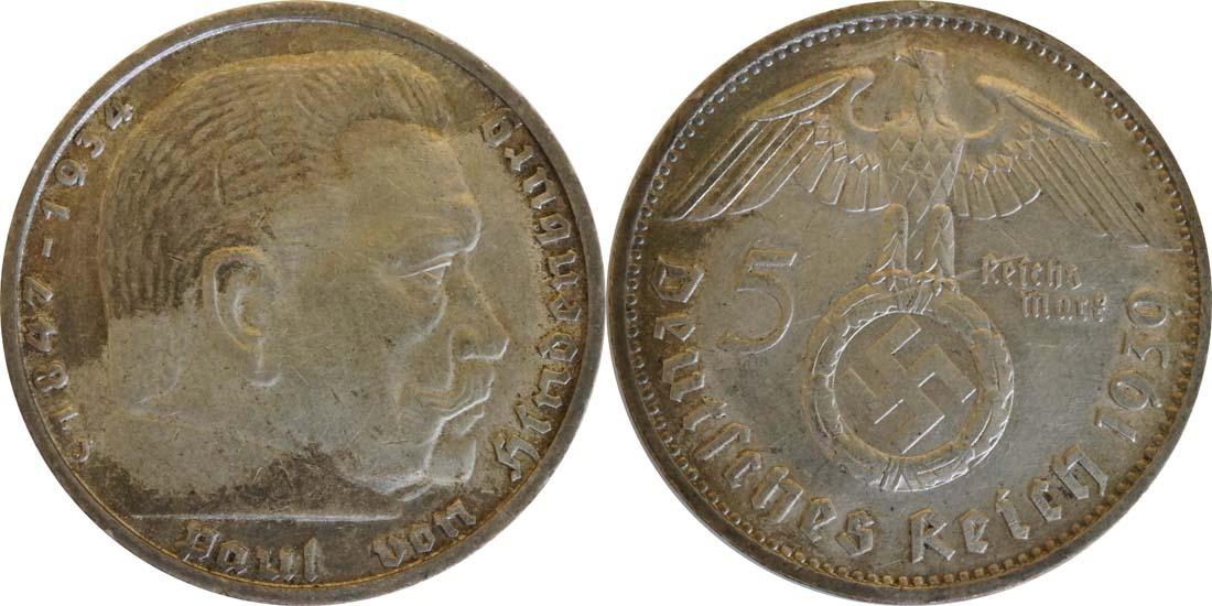 Übersicht:Deutschland : 5 Reichsmark Hindenburg  1939 ss.