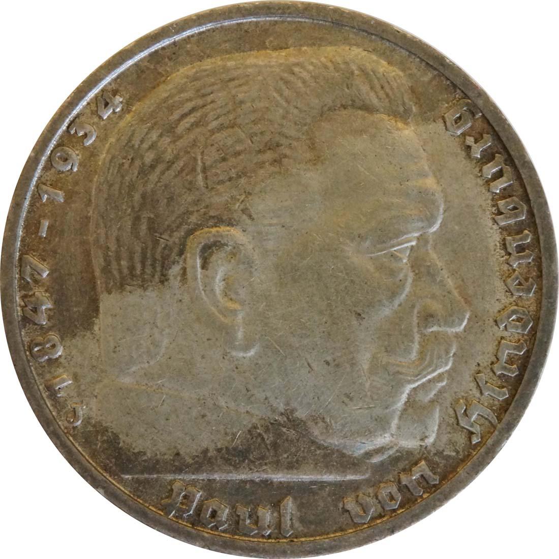 Vorderseite:Deutschland : 5 Reichsmark Hindenburg  1939 ss.