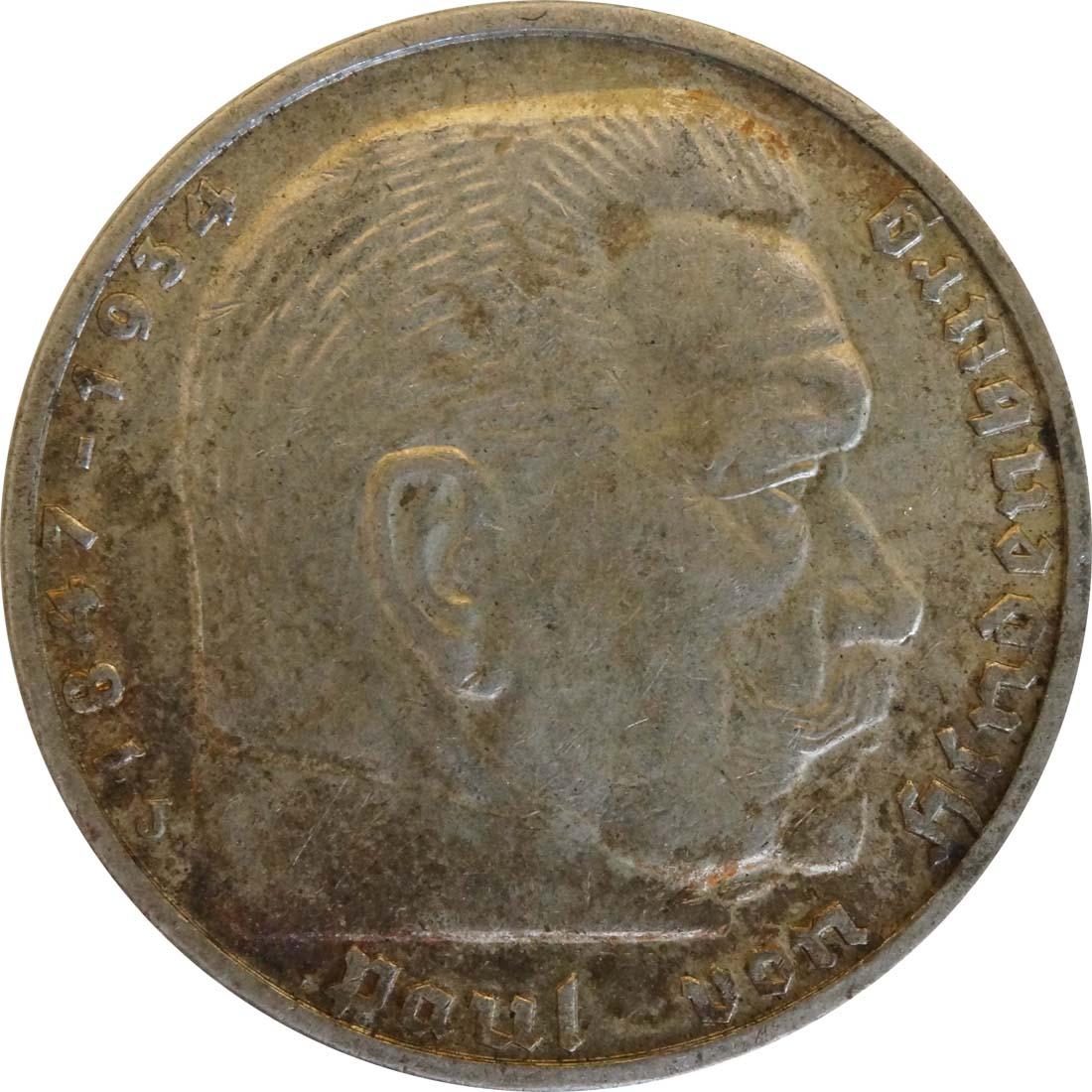 Vorderseite:Deutschland : 5 Reichsmark Hindenburg patina 1939 ss/vz.
