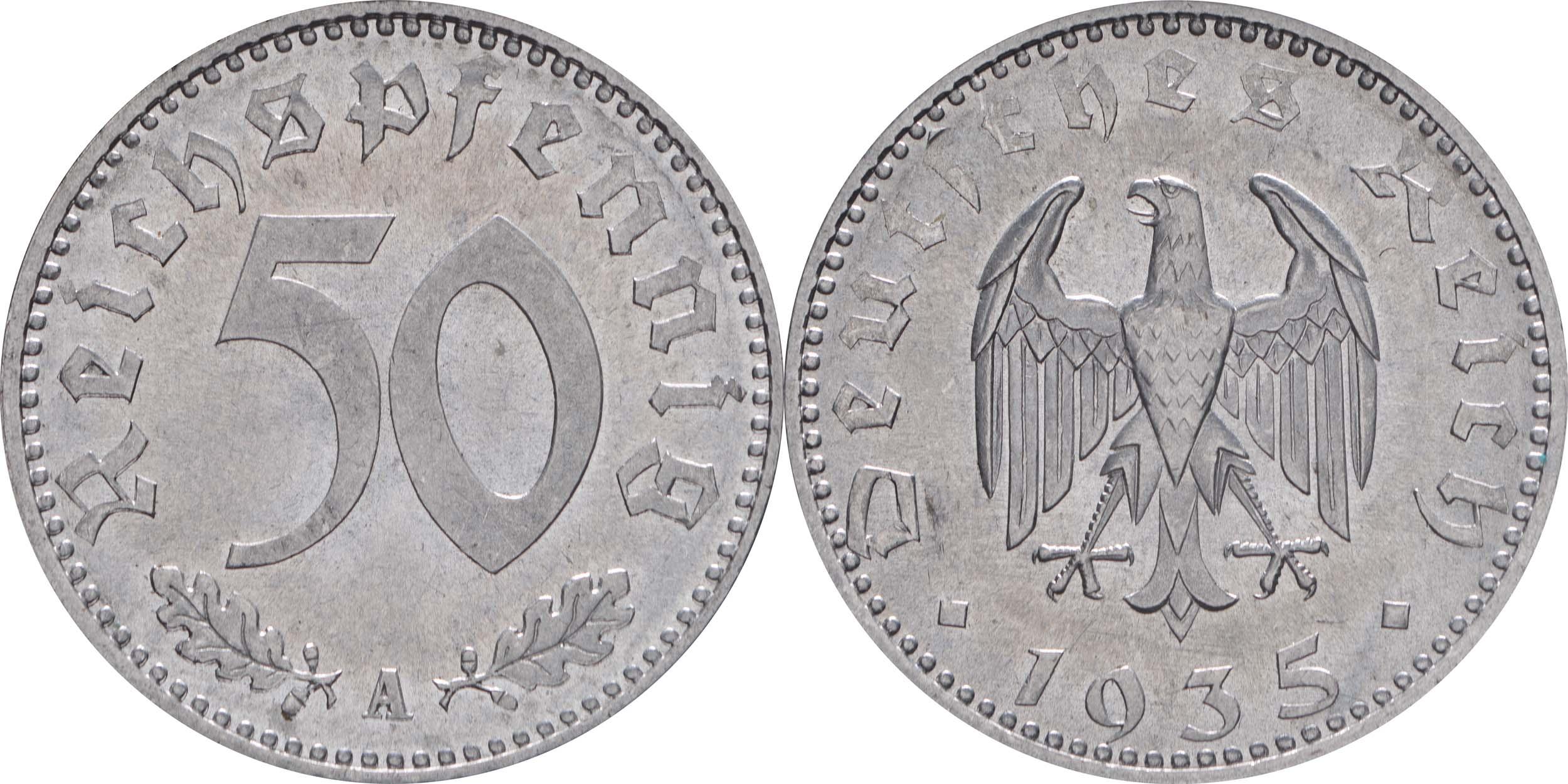 Lieferumfang:Deutschland : 50 Reichspfennig Kursmünze -fein- 1935 Stgl.