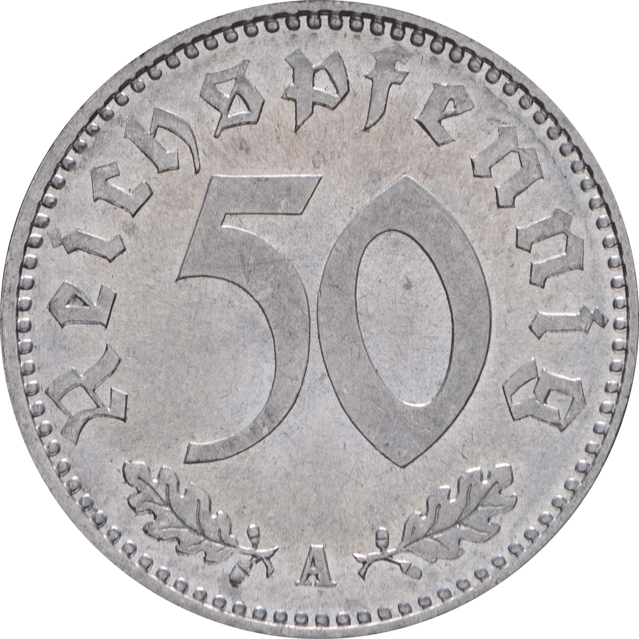 Vorderseite:Deutschland : 50 Reichspfennig Kursmünze -fein- 1935 Stgl.