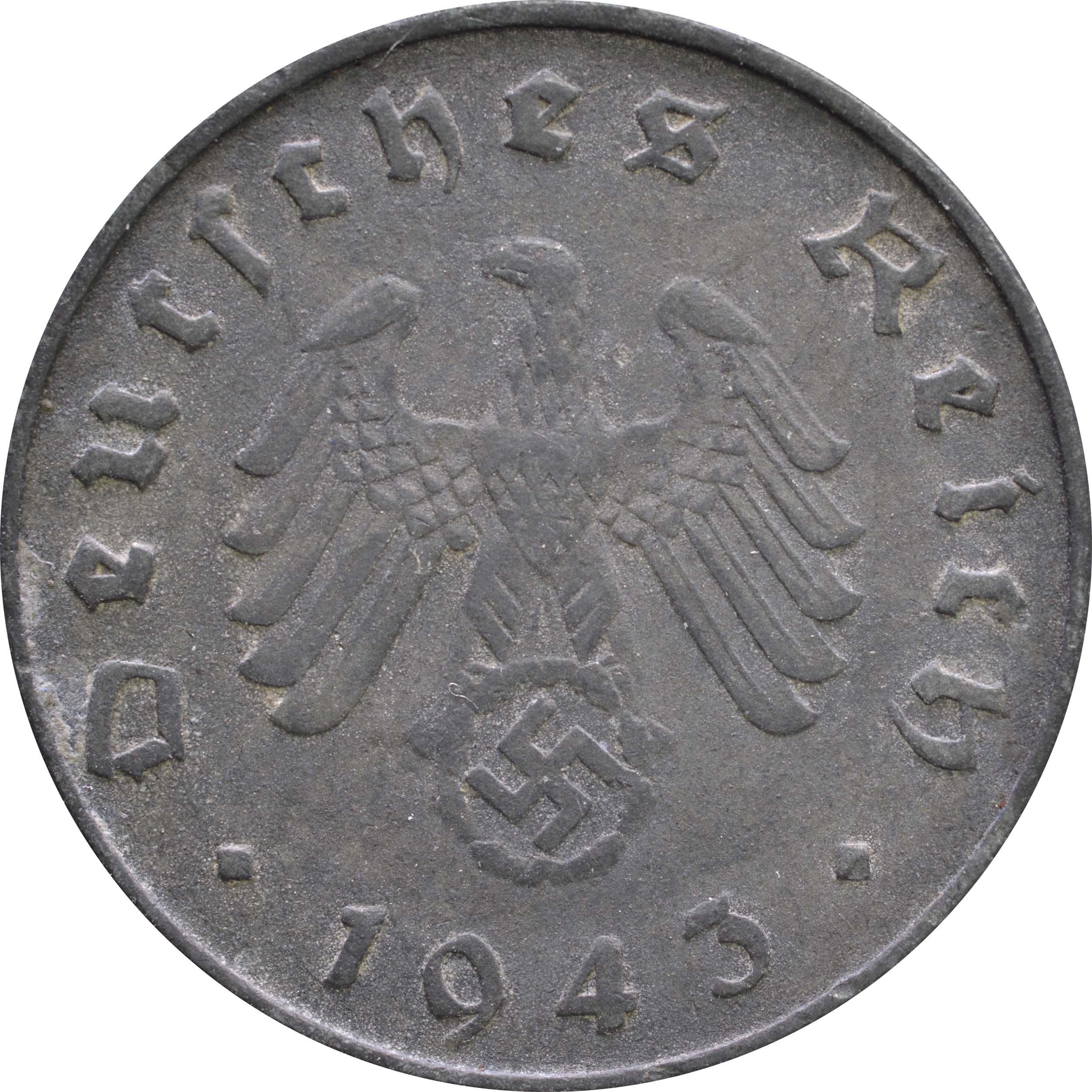 Rückseite:Deutschland : 10 Reichspfennig Kursmünze -selten- 1943 ss.