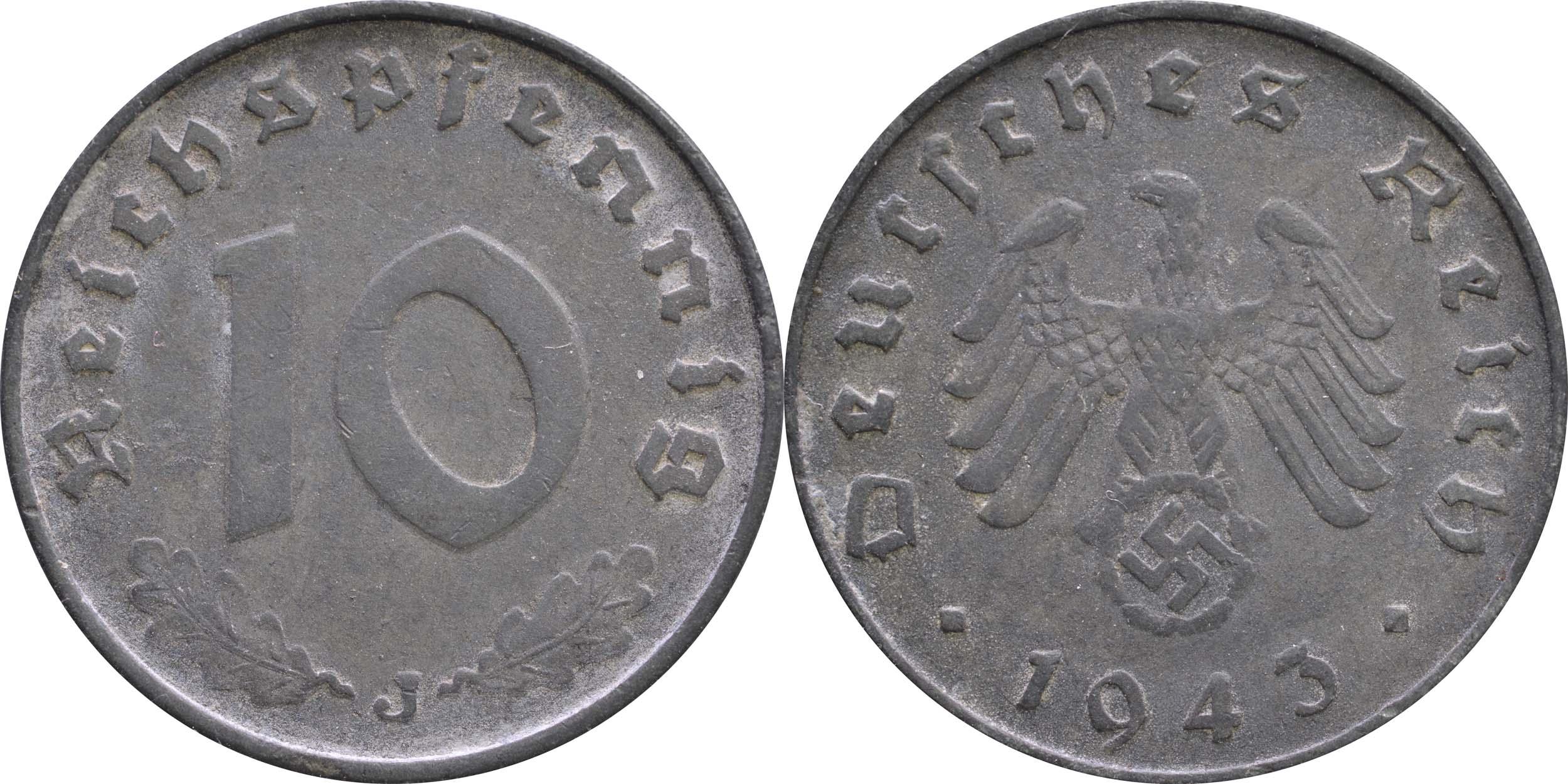 Übersicht:Deutschland : 10 Reichspfennig Kursmünze -selten- 1943 ss.
