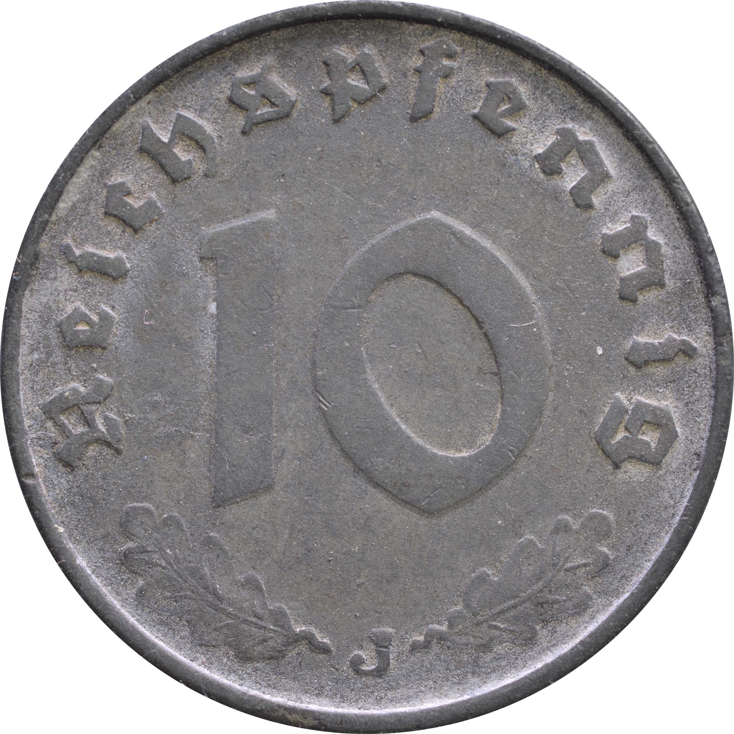 Vorderseite:Deutschland : 10 Reichspfennig Kursmünze -selten- 1943 ss.