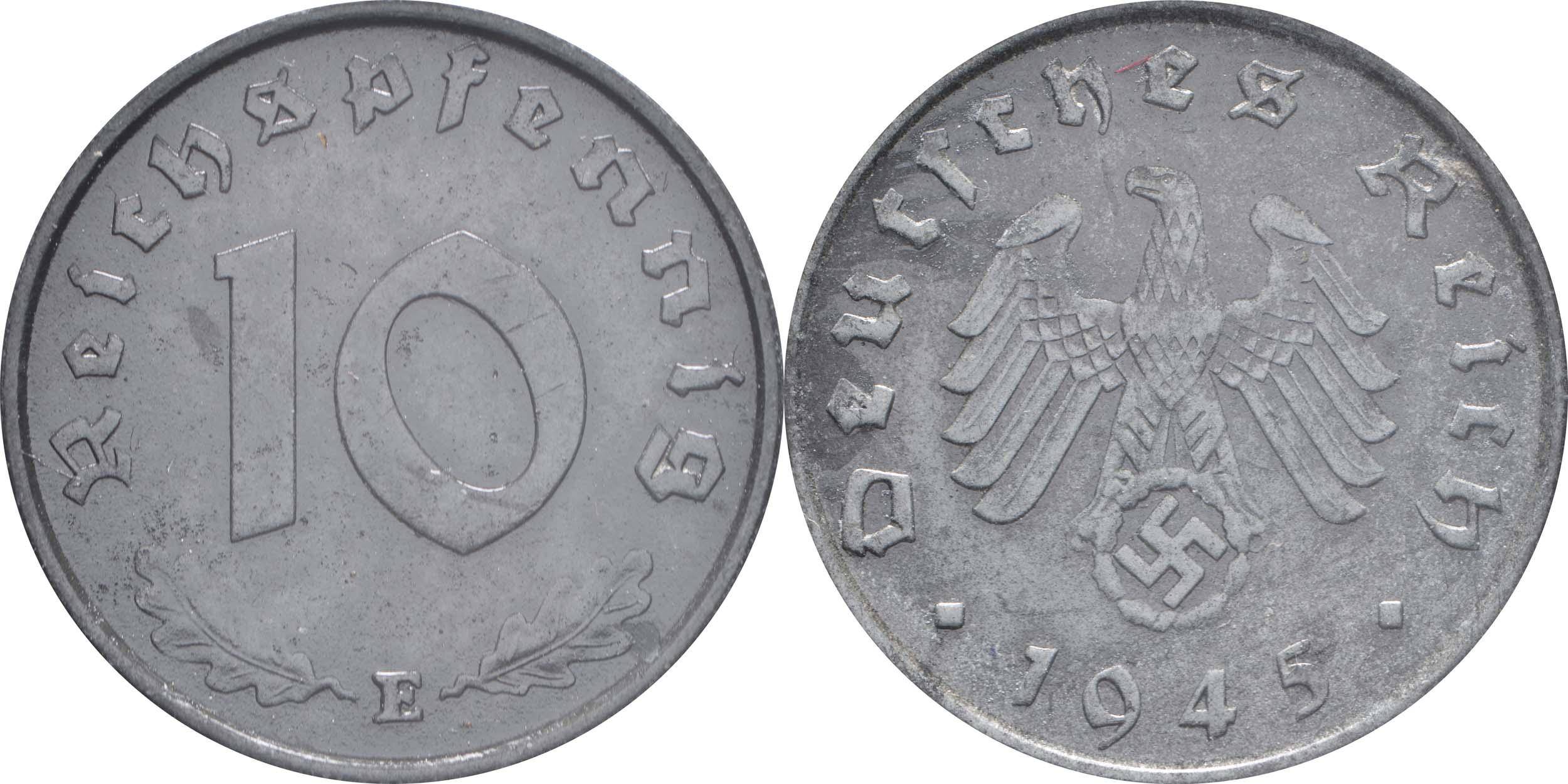 Übersicht:Deutschland : 10 Reichspfennig Kursmünze zaponiert 1945 vz.