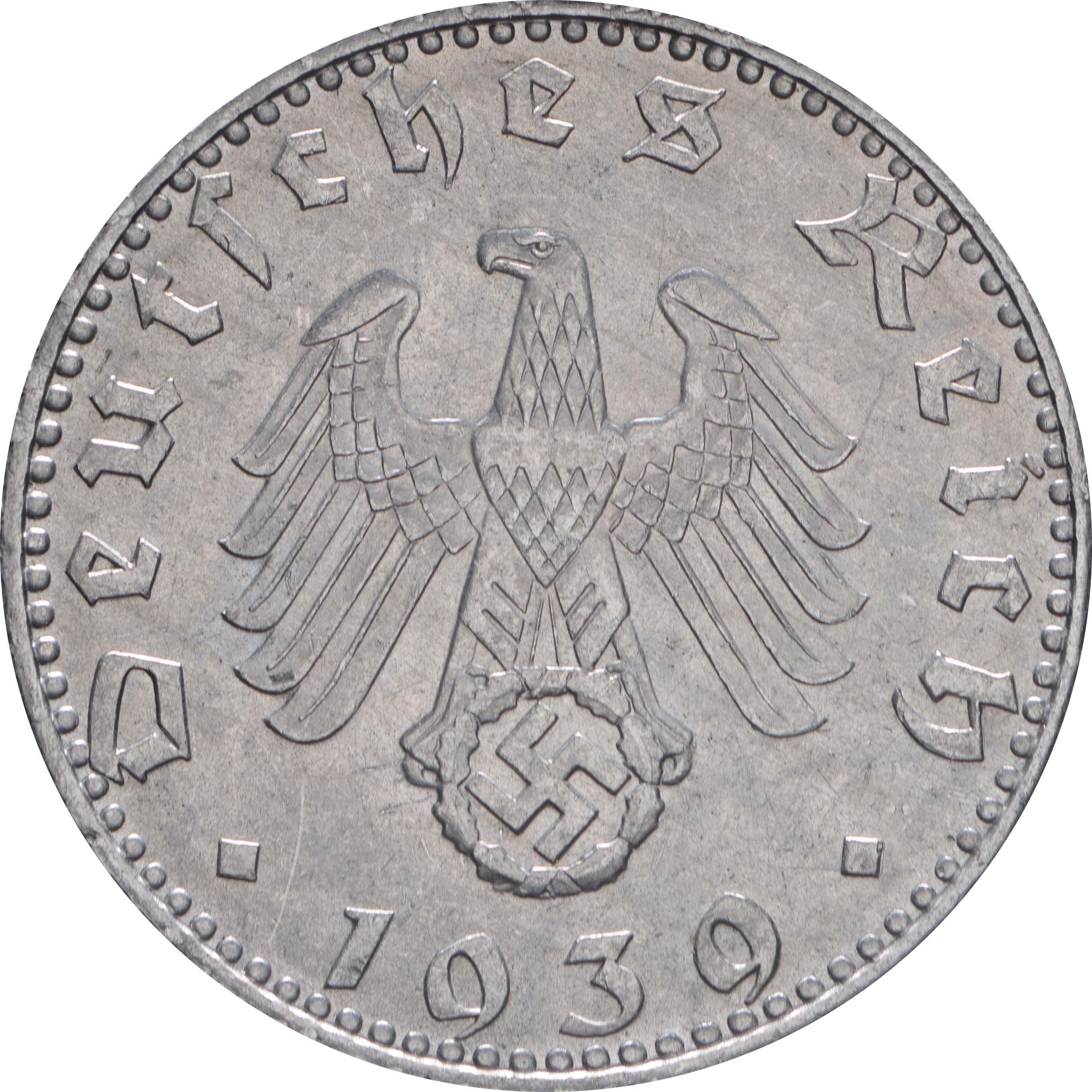 Rückseite:Deutschland : 50 Reichspfennig Kursmünze  1939 vz/Stgl.