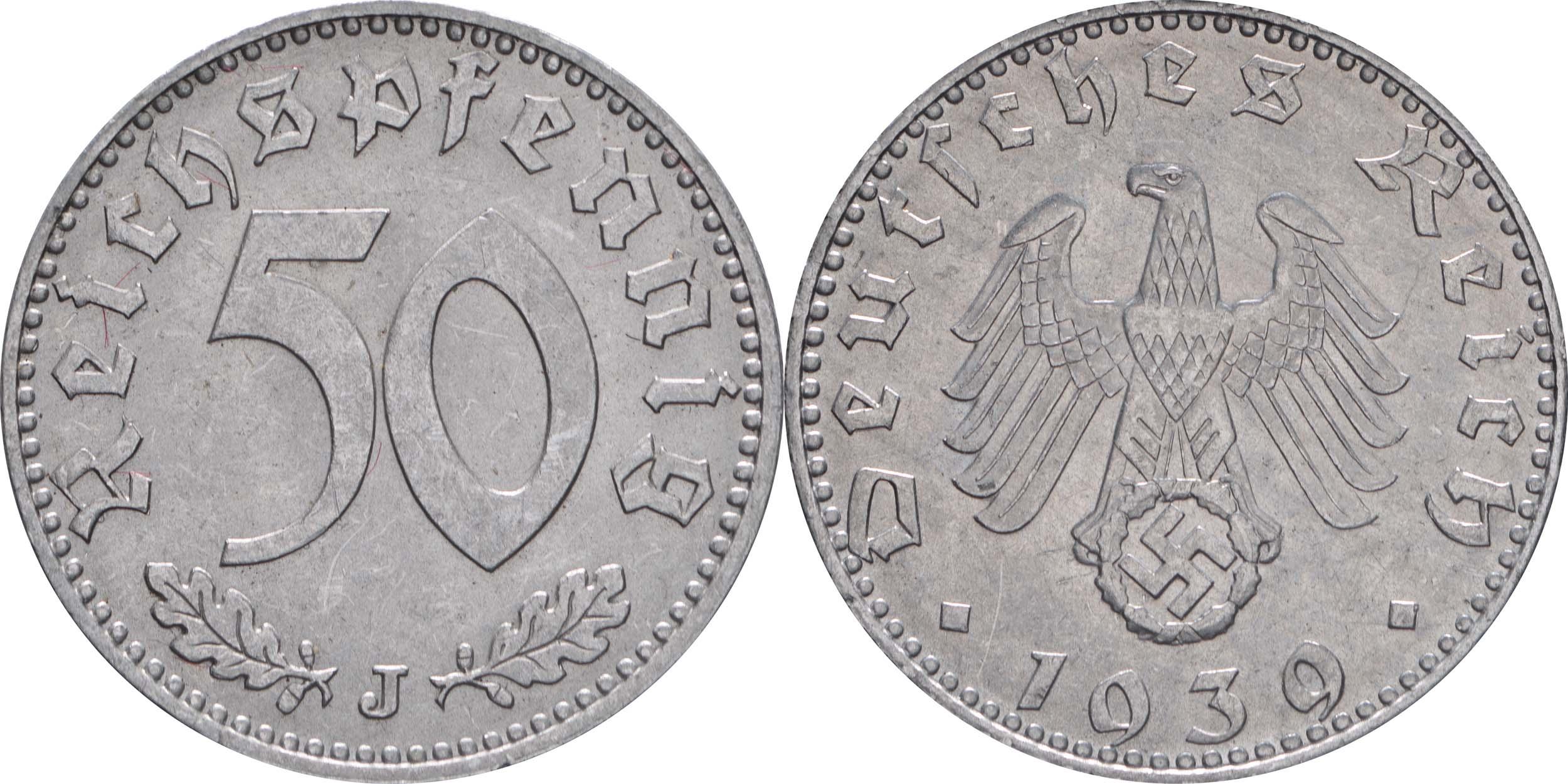 Übersicht:Deutschland : 50 Reichspfennig Kursmünze  1939 vz/Stgl.