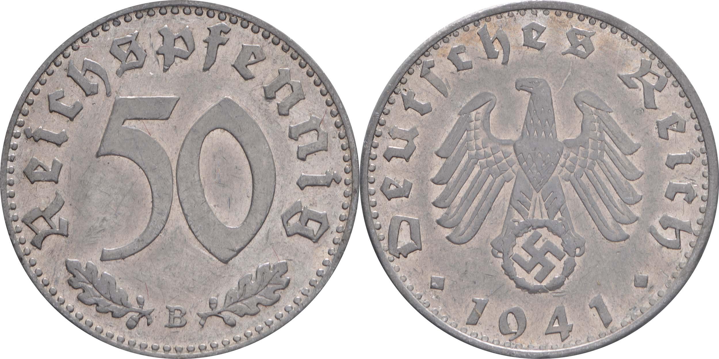 Deutschland : 50 Reichspfennig Kursmünze  1941 ss/vz.