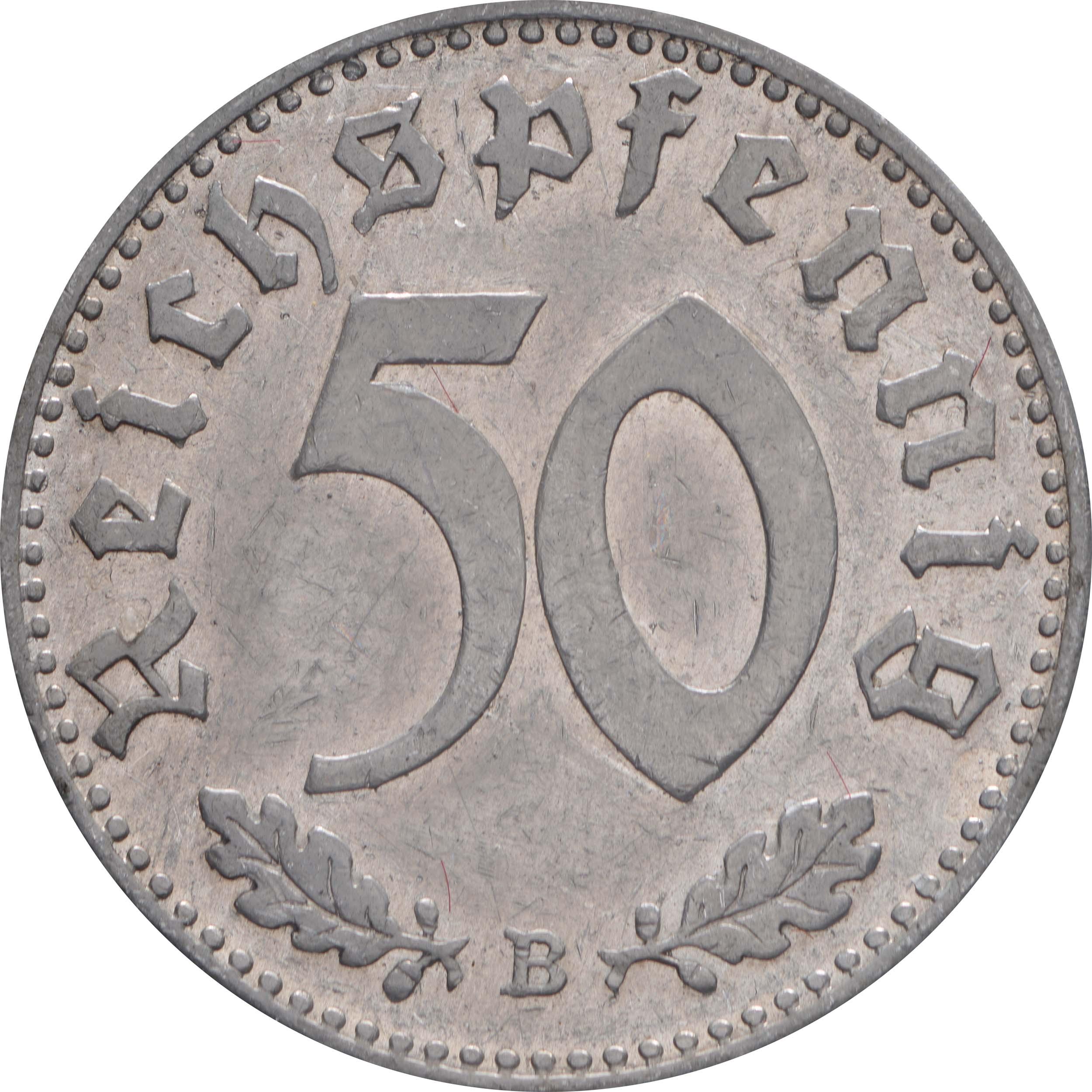 Vorderseite:Deutschland : 50 Reichspfennig Kursmünze  1941 ss/vz.