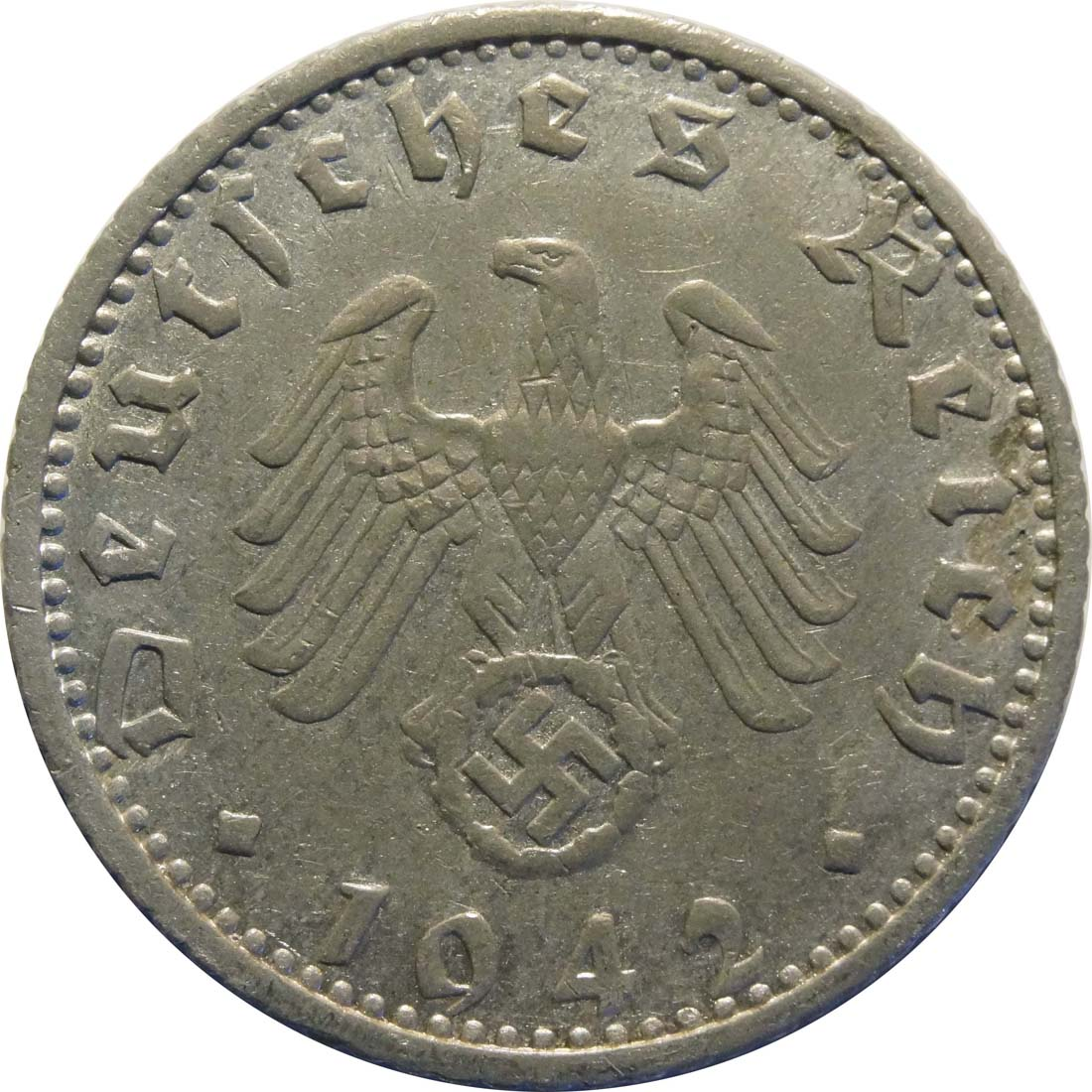 Rückseite:Deutschland : 50 Reichspfennig Kursmünze  1942 ss/vz.