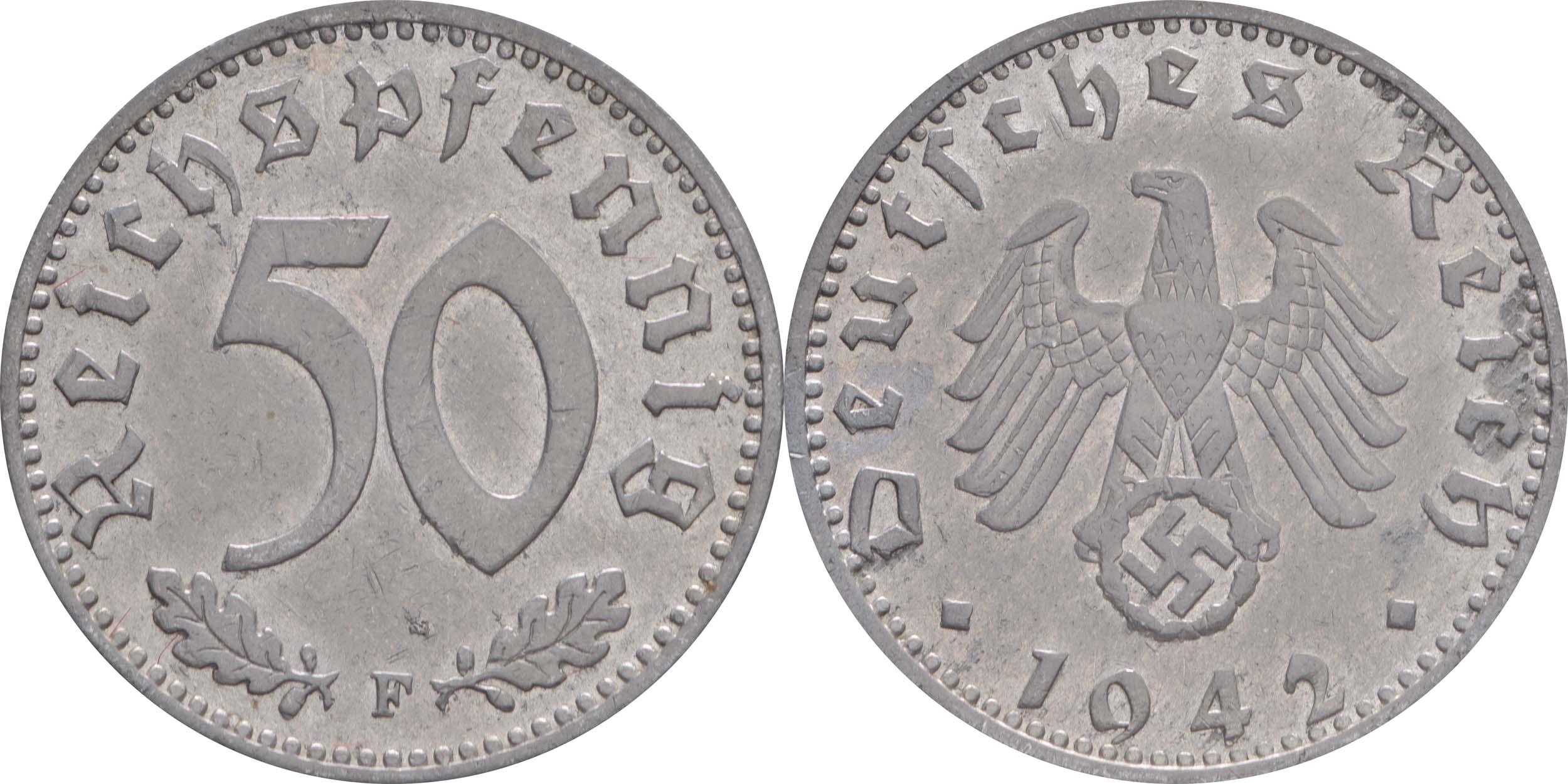 Übersicht:Deutschland : 50 Reichspfennig Kursmünze  1942 ss/vz.